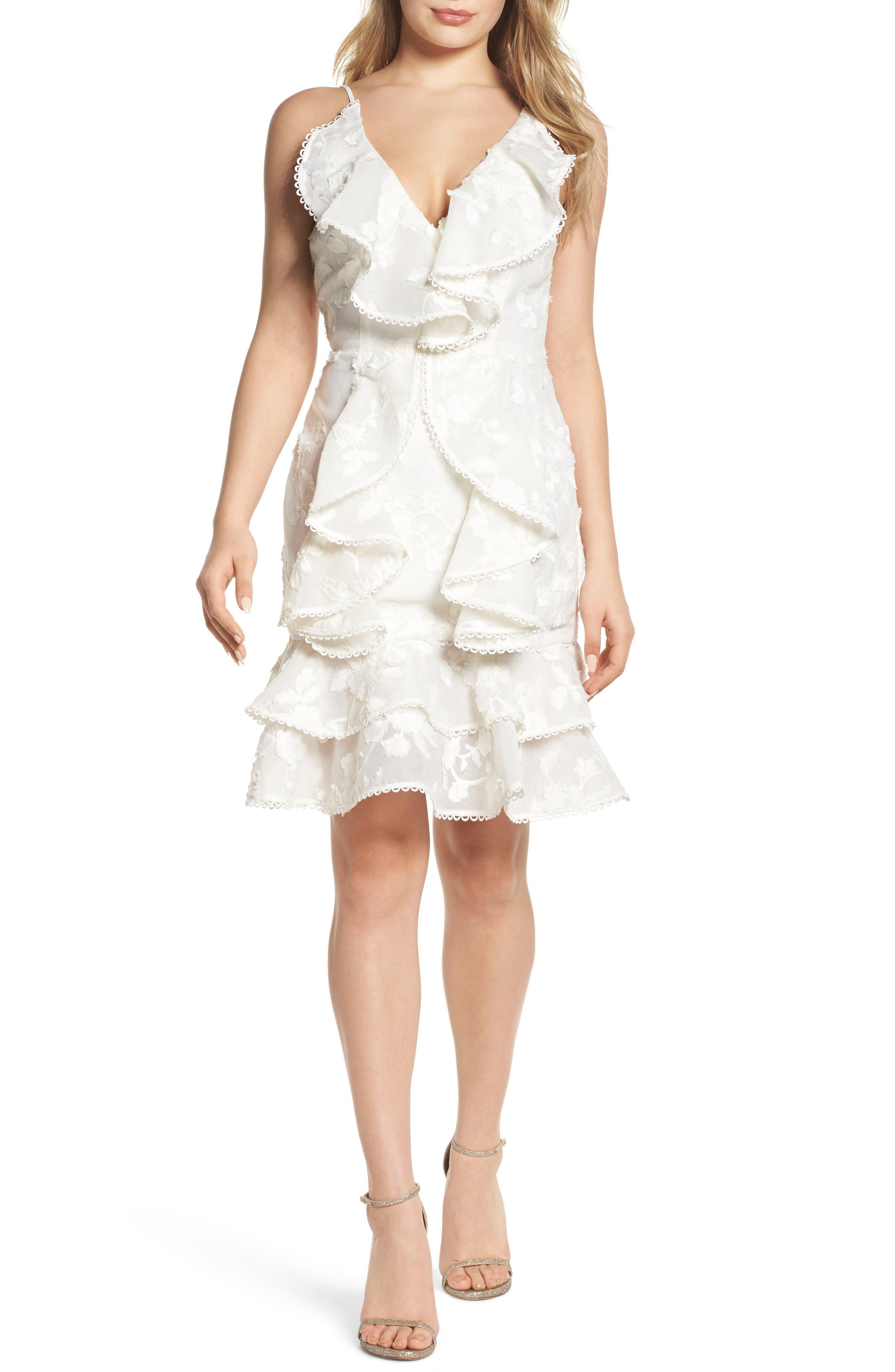 Shine Ruffle Lace Dress,                         Main,                         color, 900