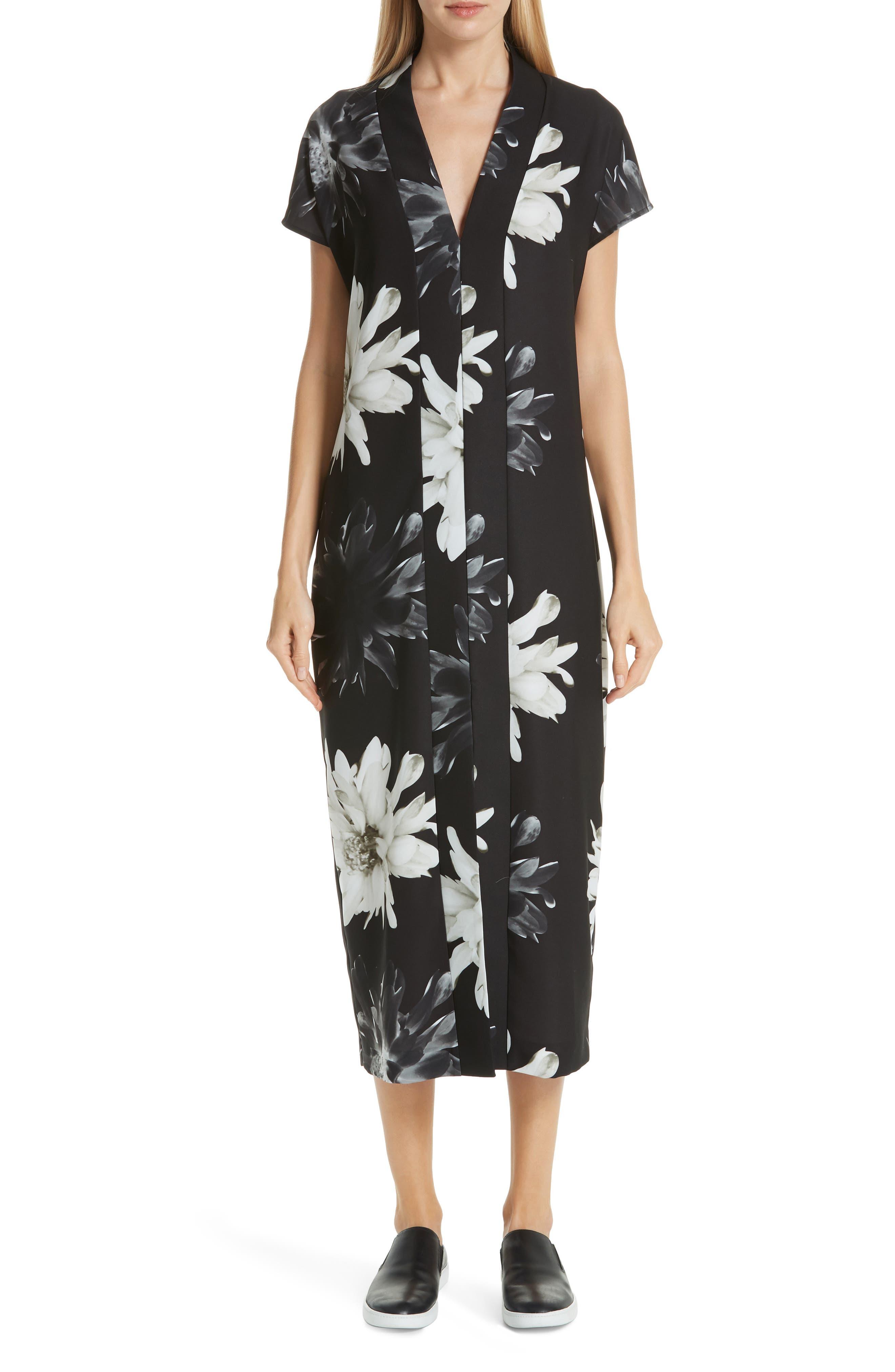 Fuzzi Floral Midi Dress, US / 44 IT - Black