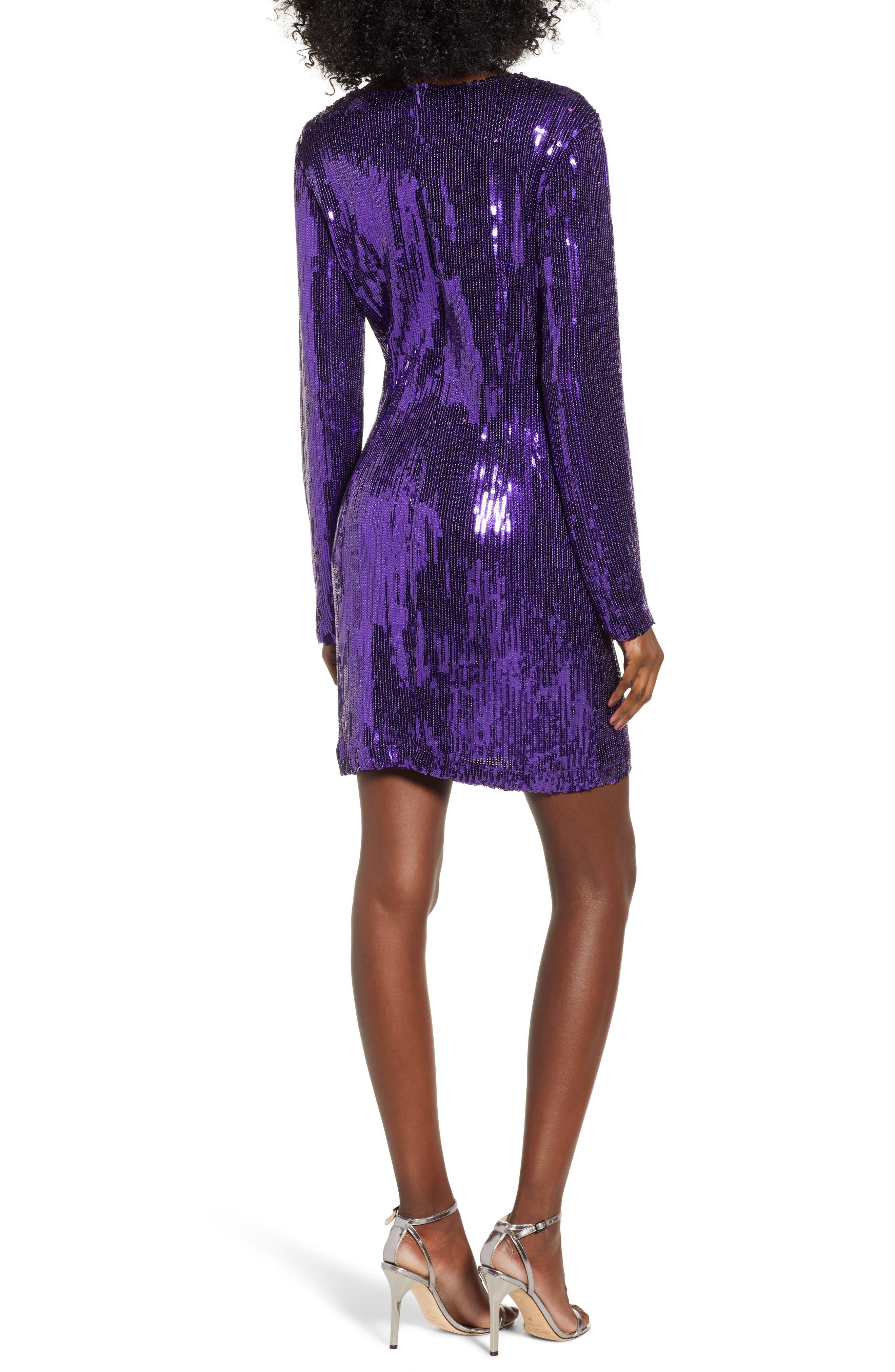 Sequin Minidress,                             Alternate thumbnail 2, color,                             PURPLE