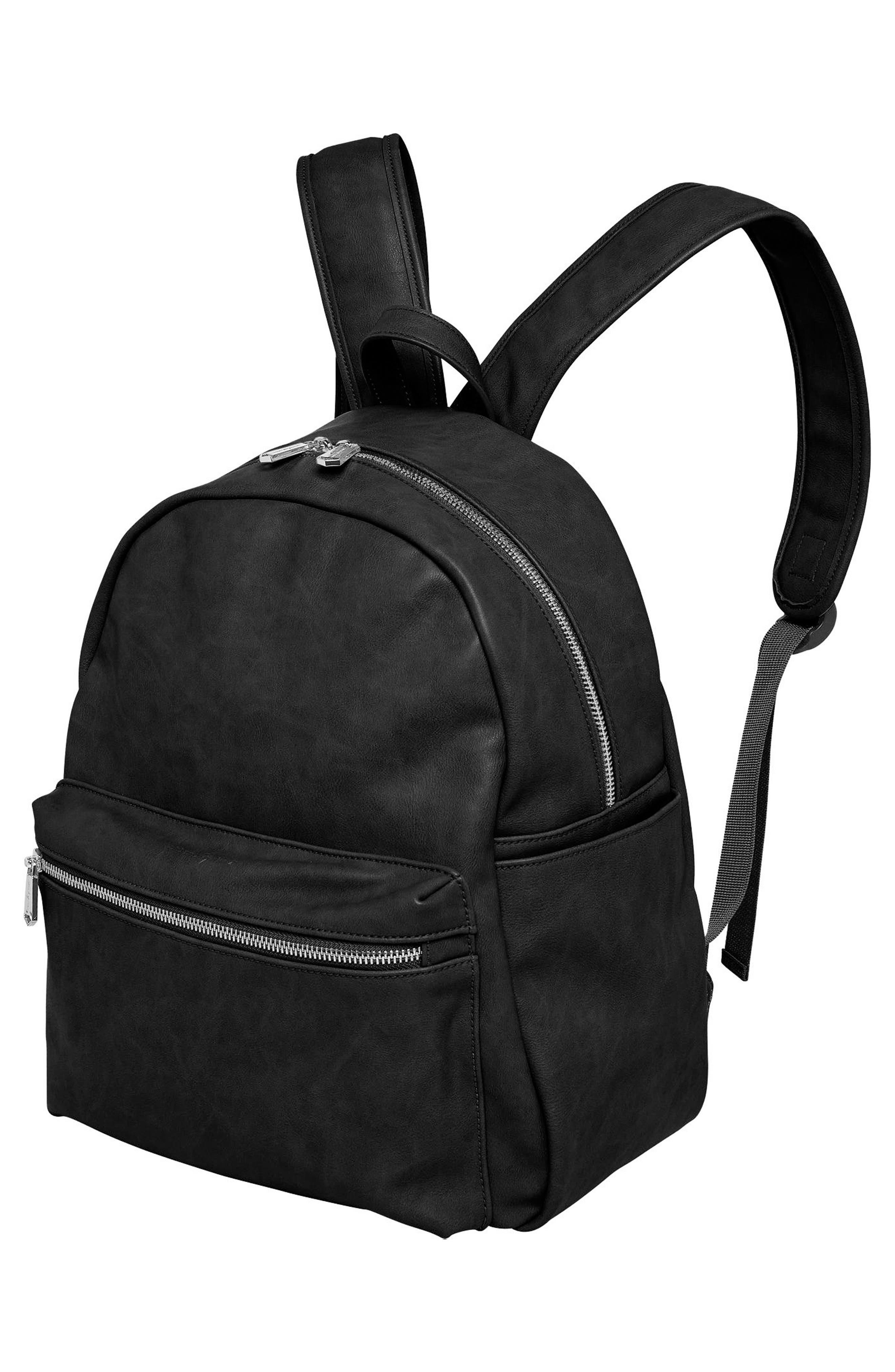 Practical Vegan Leather Backpack,                             Alternate thumbnail 4, color,                             001