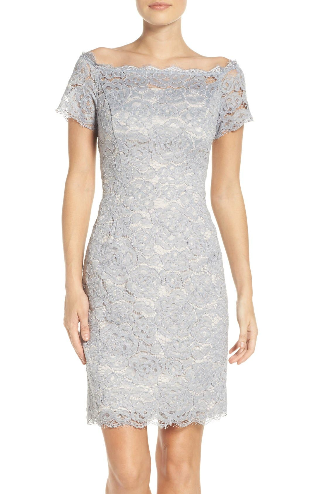 Off the Shoulder Lace Sheath Dress,                             Main thumbnail 3, color,