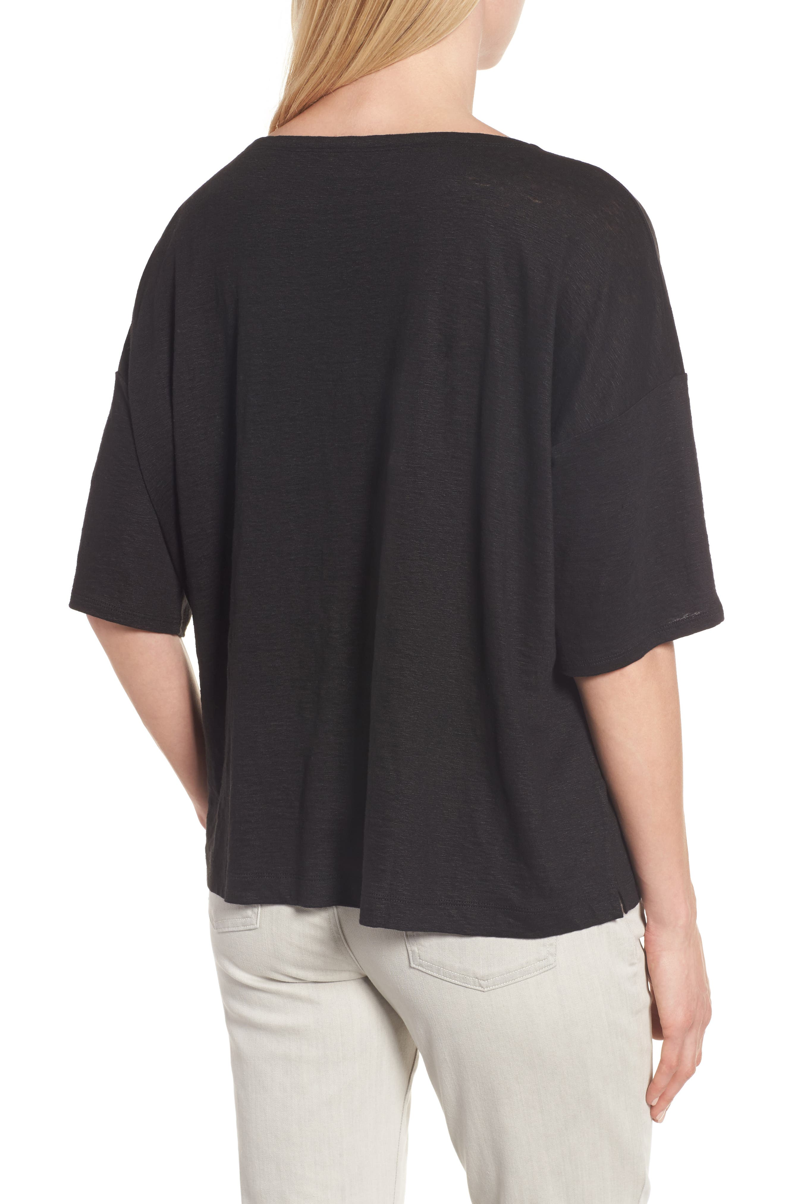 Organic Linen Jersey Boxy Top,                             Alternate thumbnail 8, color,