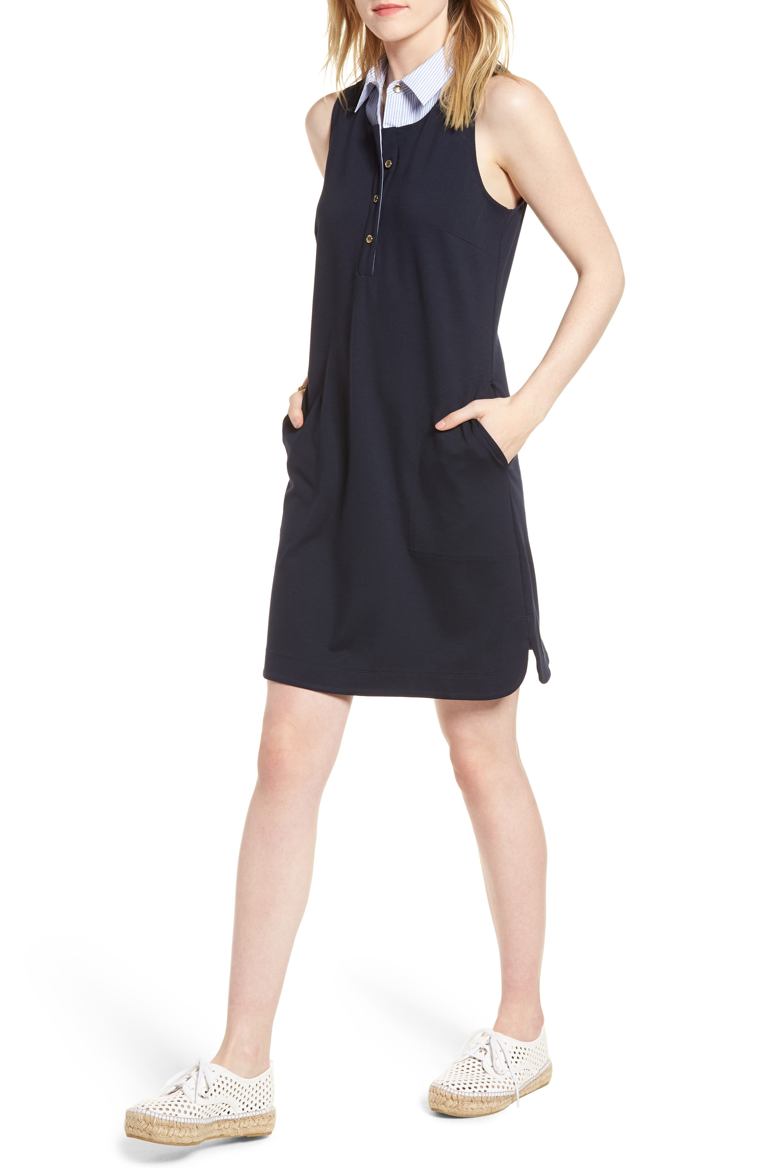 Poplin Collar Knit Dress,                         Main,                         color, 410