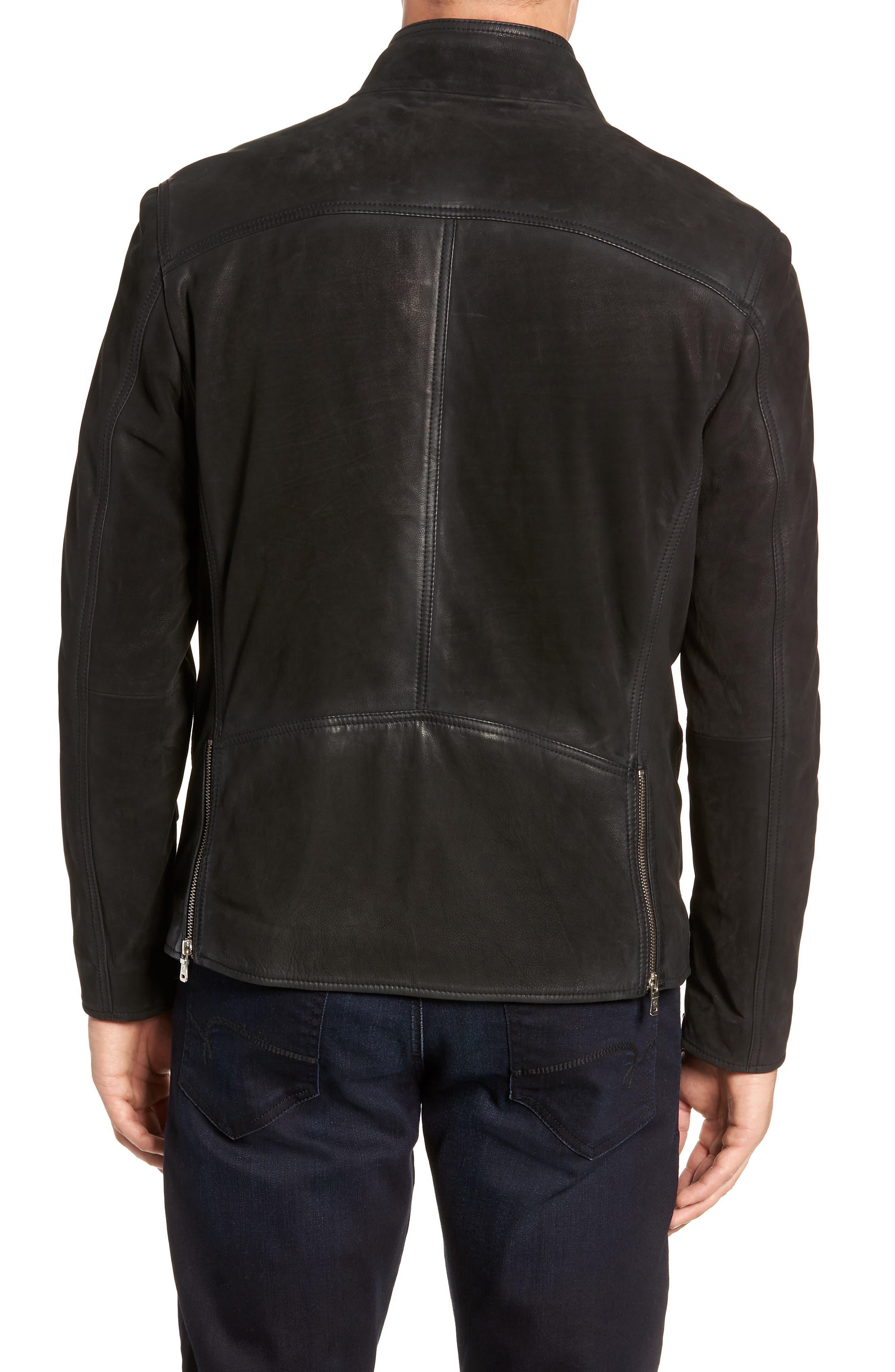 Regular Fit Leather Moto Jacket,                             Alternate thumbnail 2, color,                             BLACK