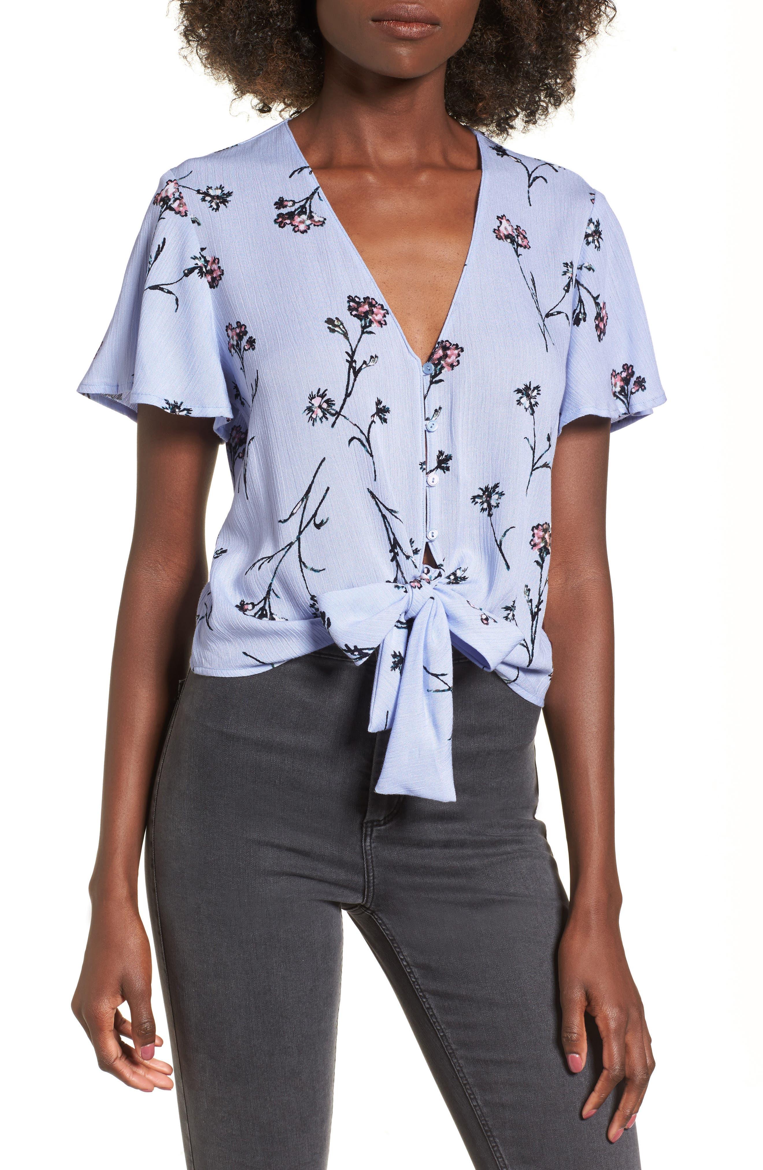 Knot Front Shirt,                             Main thumbnail 2, color,