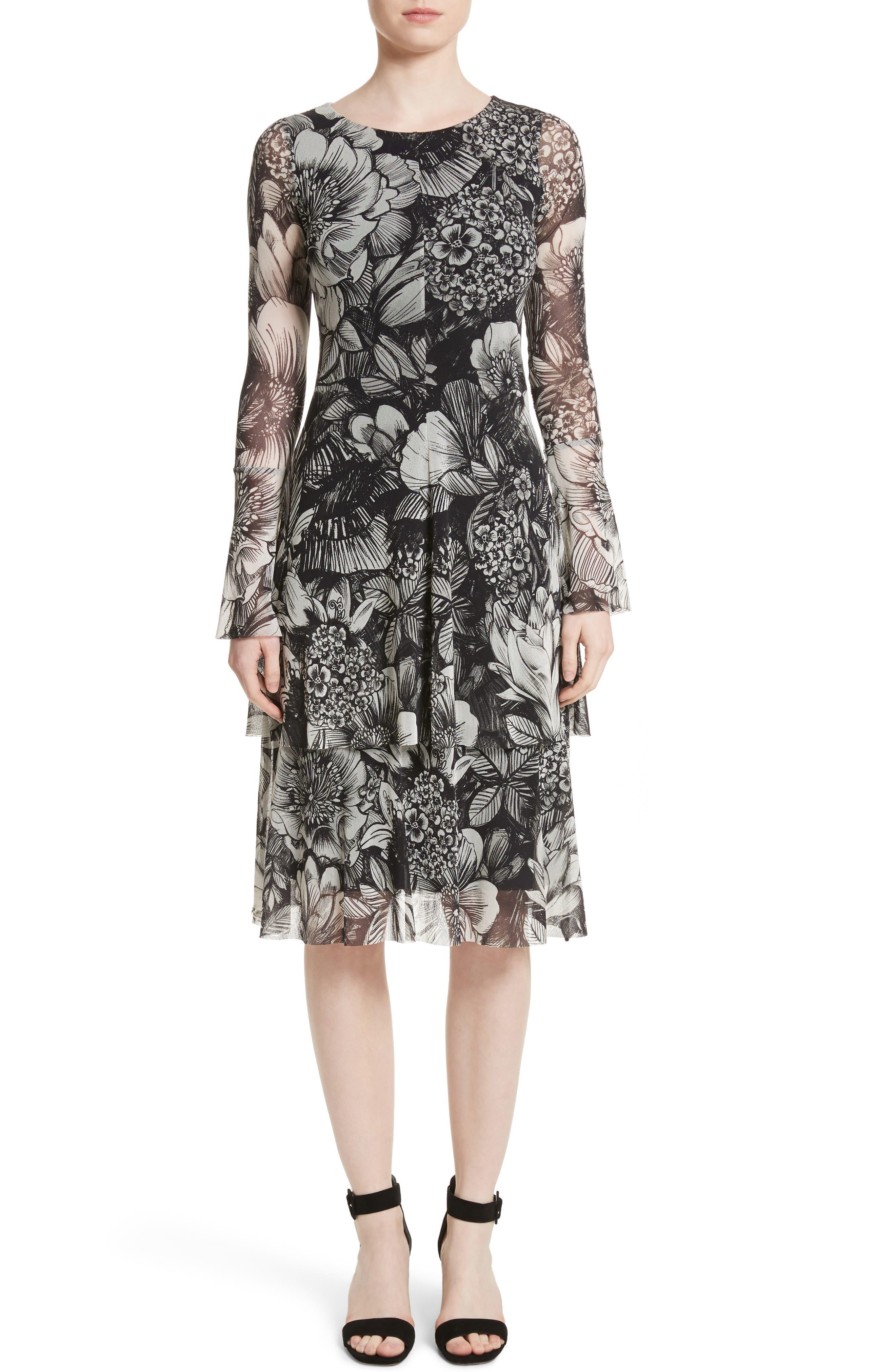 Ruffle Floral Print Tulle Dress,                             Main thumbnail 1, color,
