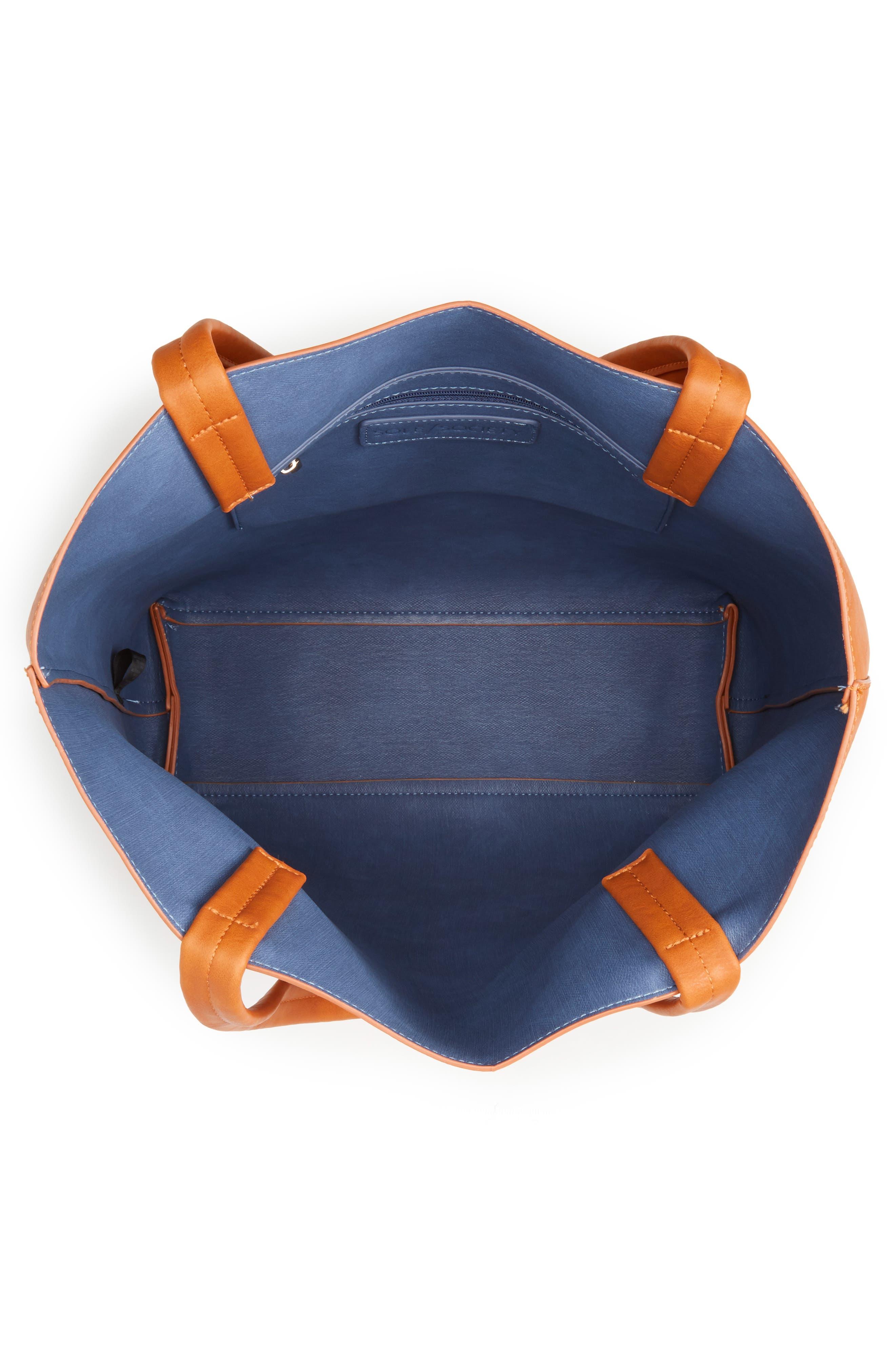 Oversize Melyssa Faux Leather Tote,                             Alternate thumbnail 4, color,                             200