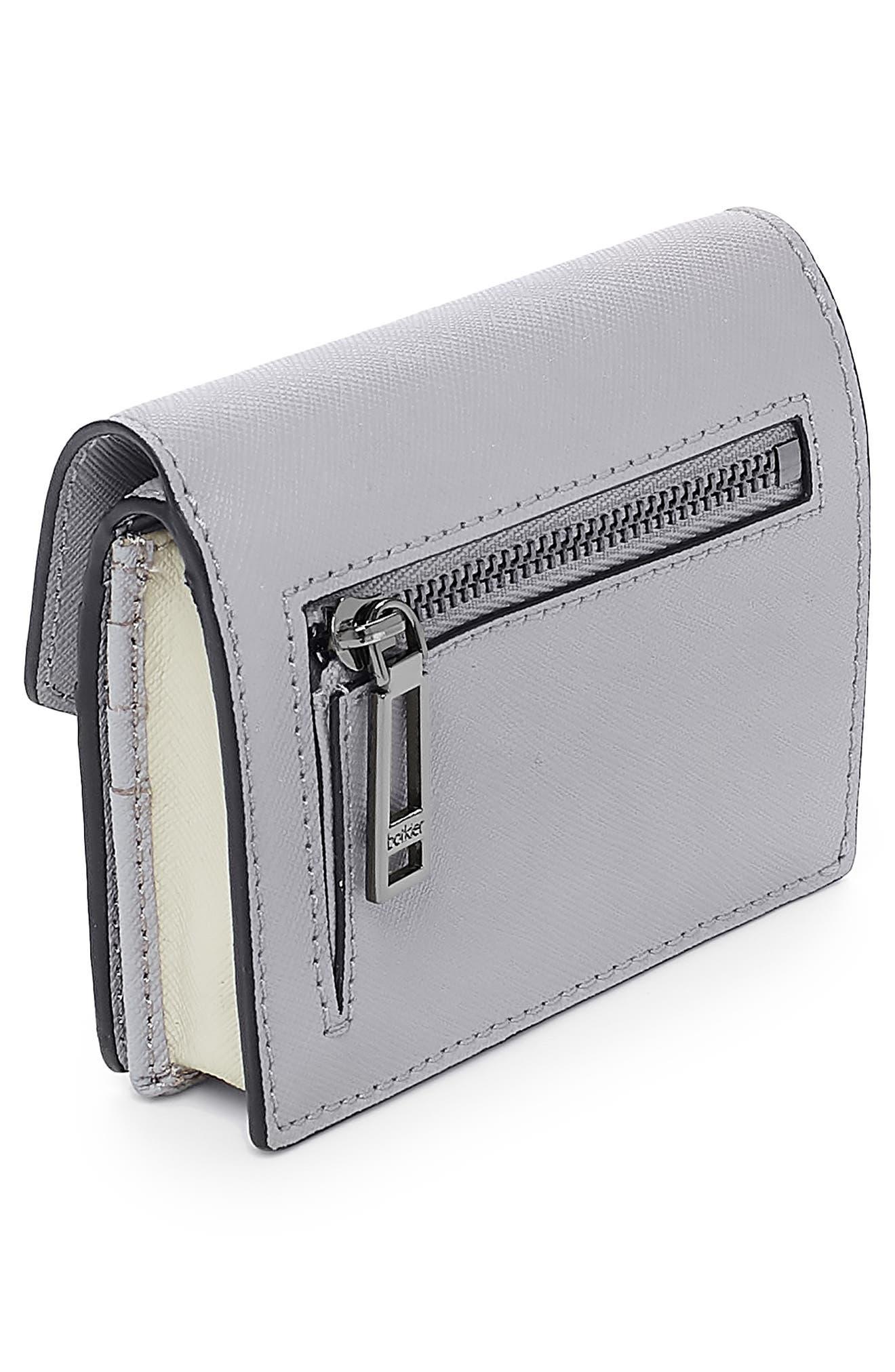 BOTKIER,                             Mini Cobble Hill Colorblock Leather Wallet,                             Alternate thumbnail 3, color,                             PEWTER COMBO
