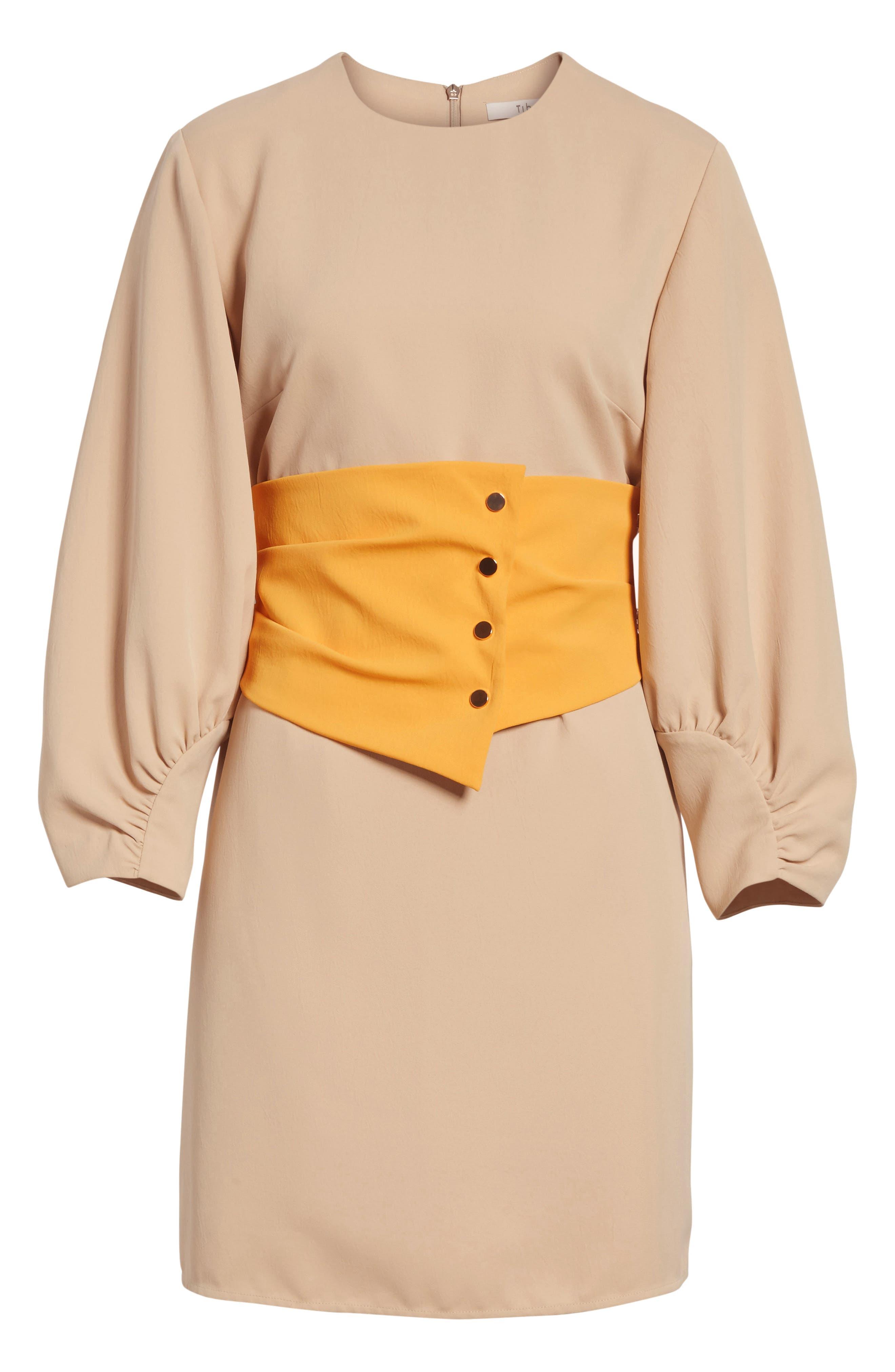 Shirred Sleeve Corset Dress,                             Alternate thumbnail 7, color,                             NUDE/ ORANGE MULTI