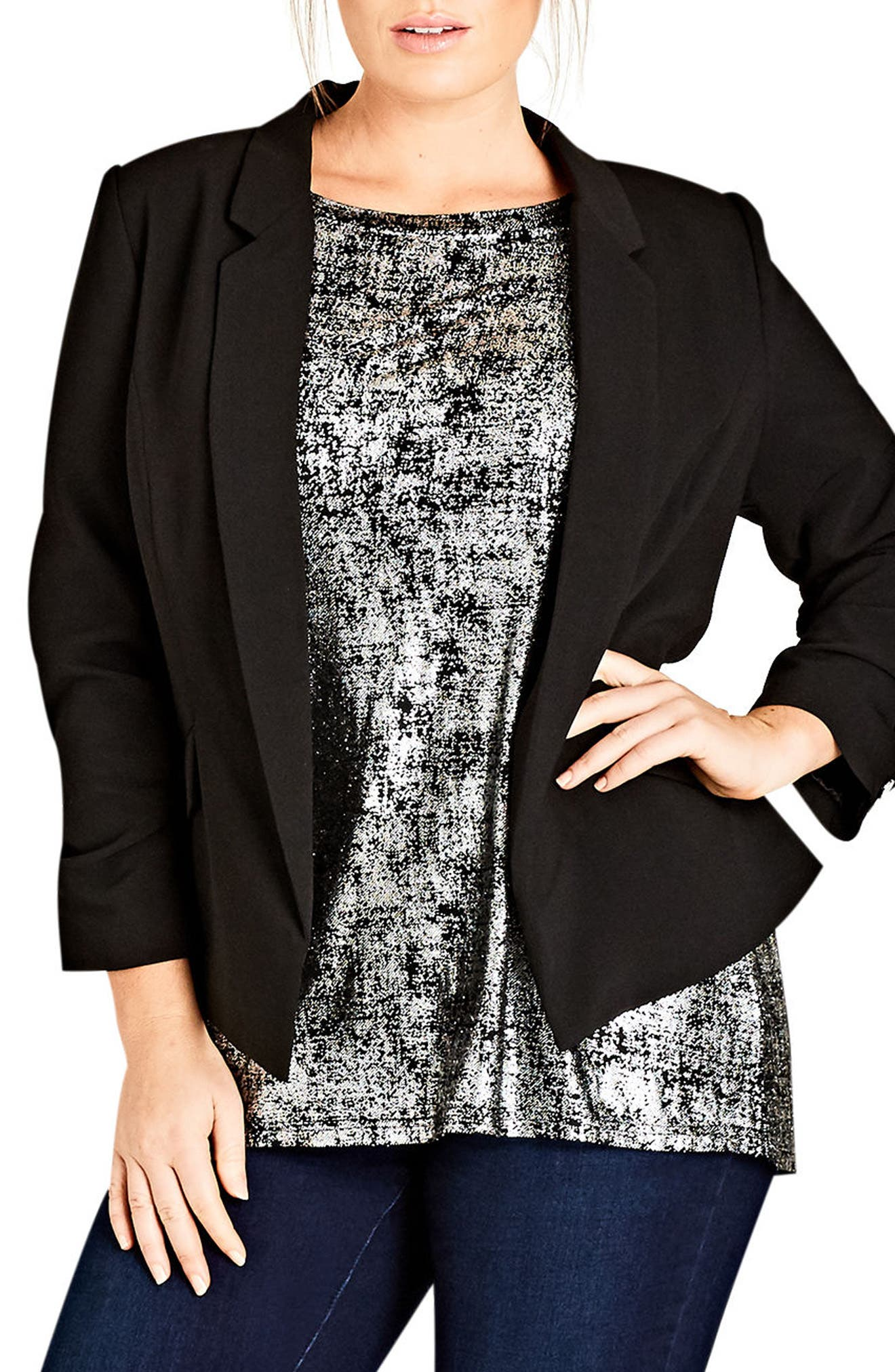 CITY CHIC Classy Lady Jacket, Main, color, 001