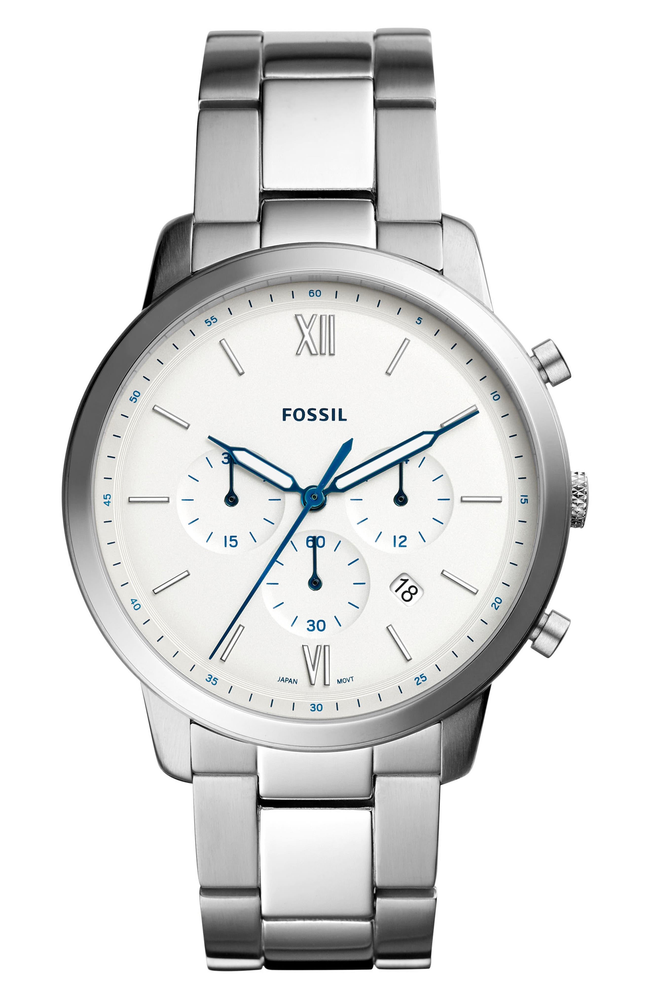 Neutra Chronograph Bracelet Watch, 44mm,                             Main thumbnail 1, color,                             SILVER/ WHITE/ SILVER