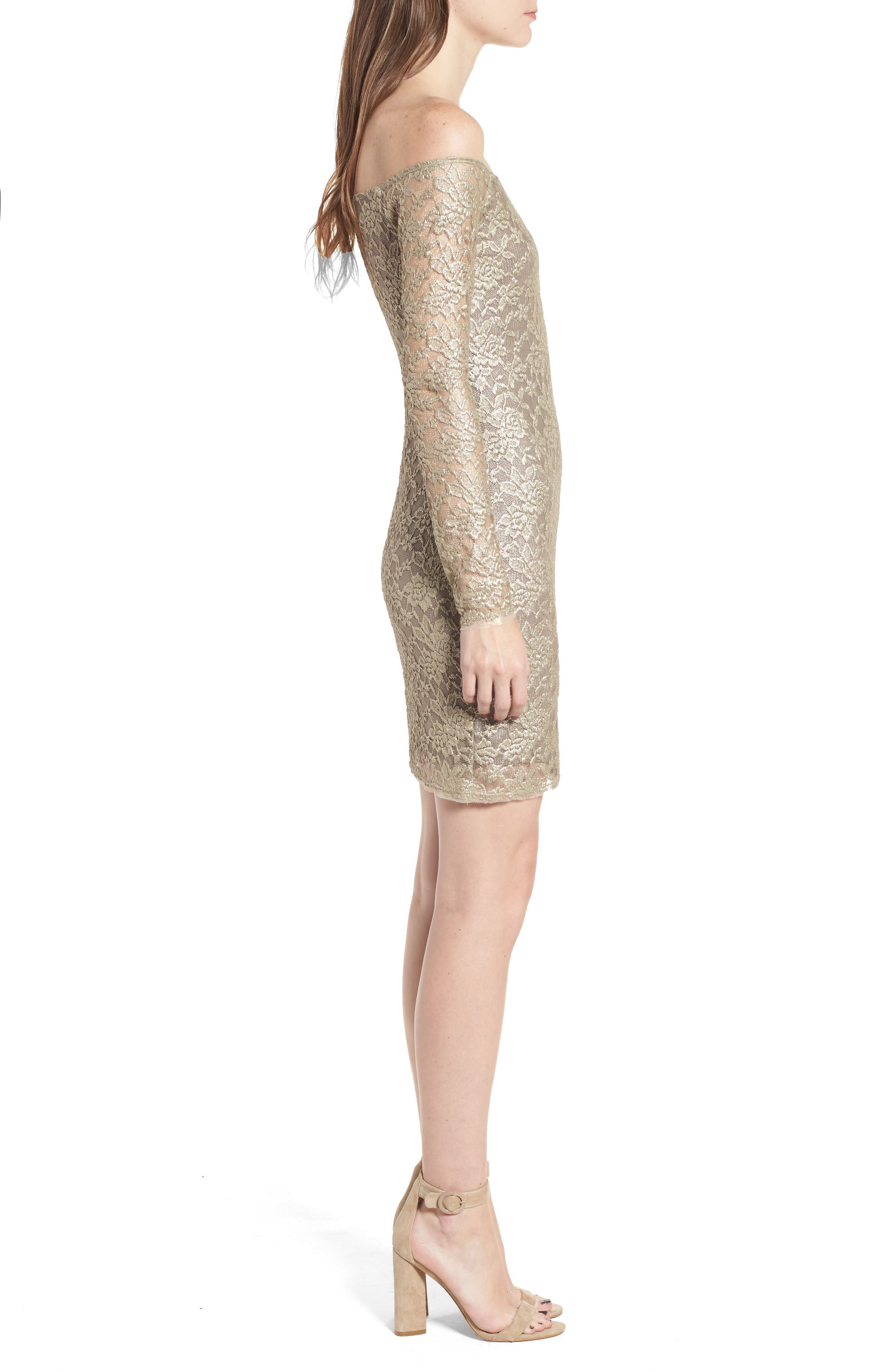 Double Exposure Lace Sheath Dress,                             Alternate thumbnail 3, color,                             710