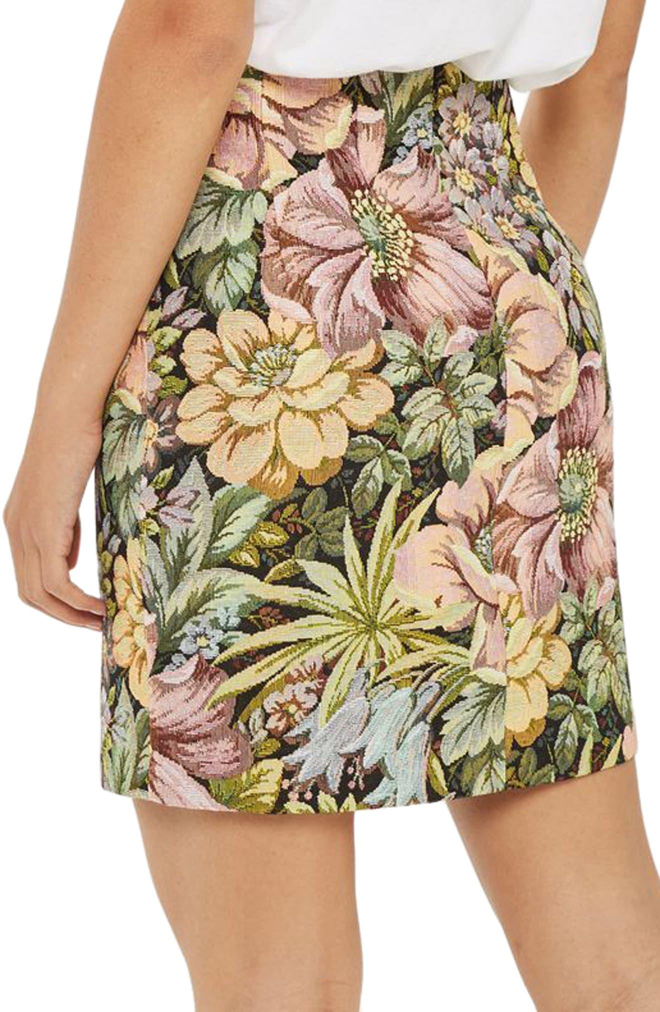 High Waist Tapestry Miniskirt,                             Alternate thumbnail 2, color,
