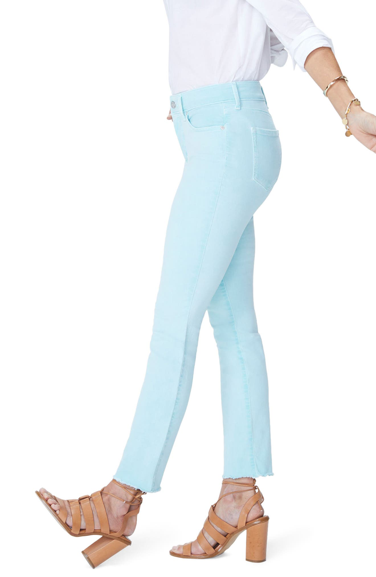 Sheri High Waist Frayed Hem Stretch Slim Ankle Jeans,                             Alternate thumbnail 3, color,                             PALE CABANA