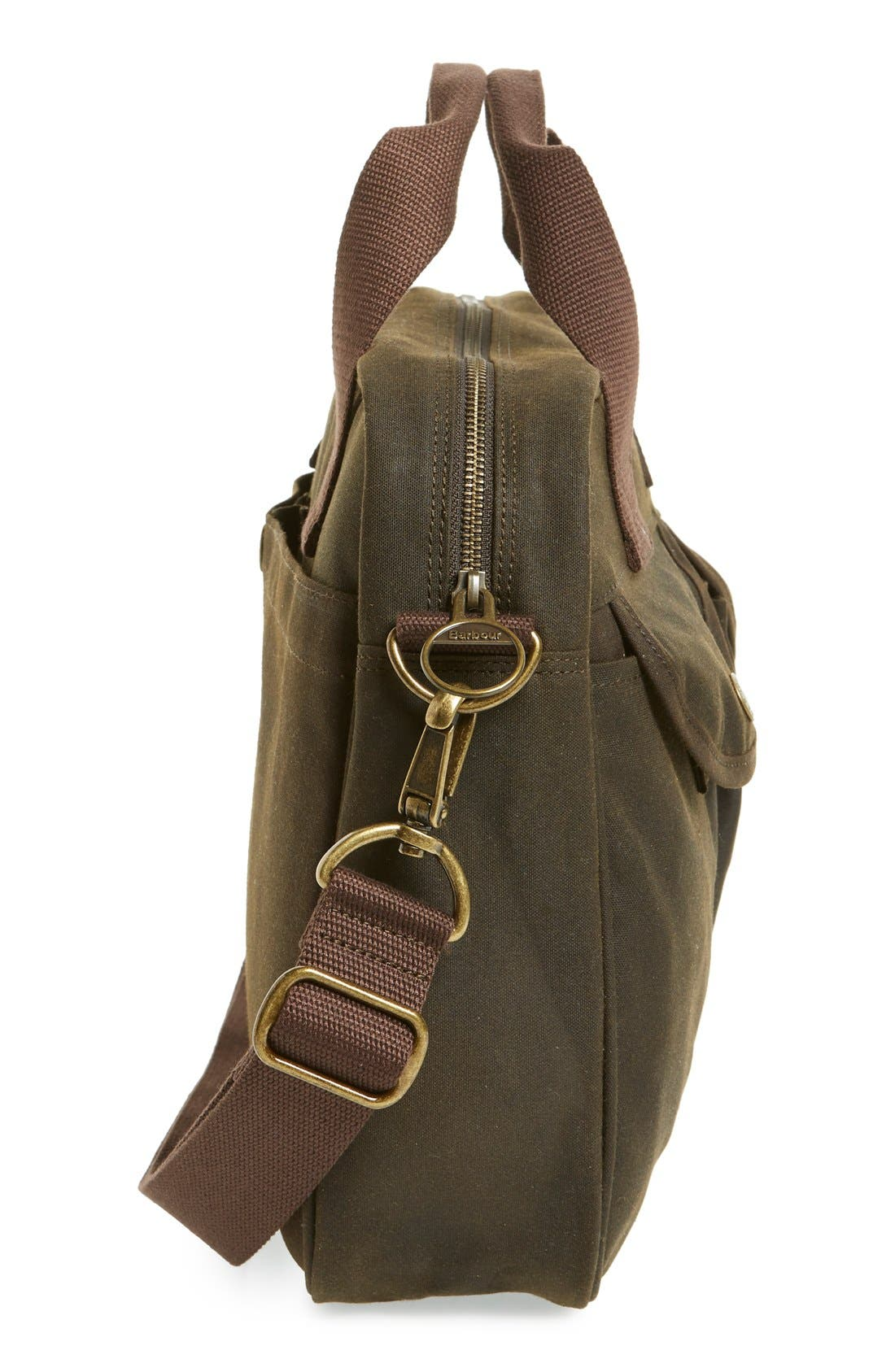 'Longthorpe' Waxed Canvas Laptop Bag,                             Alternate thumbnail 5, color,                             340