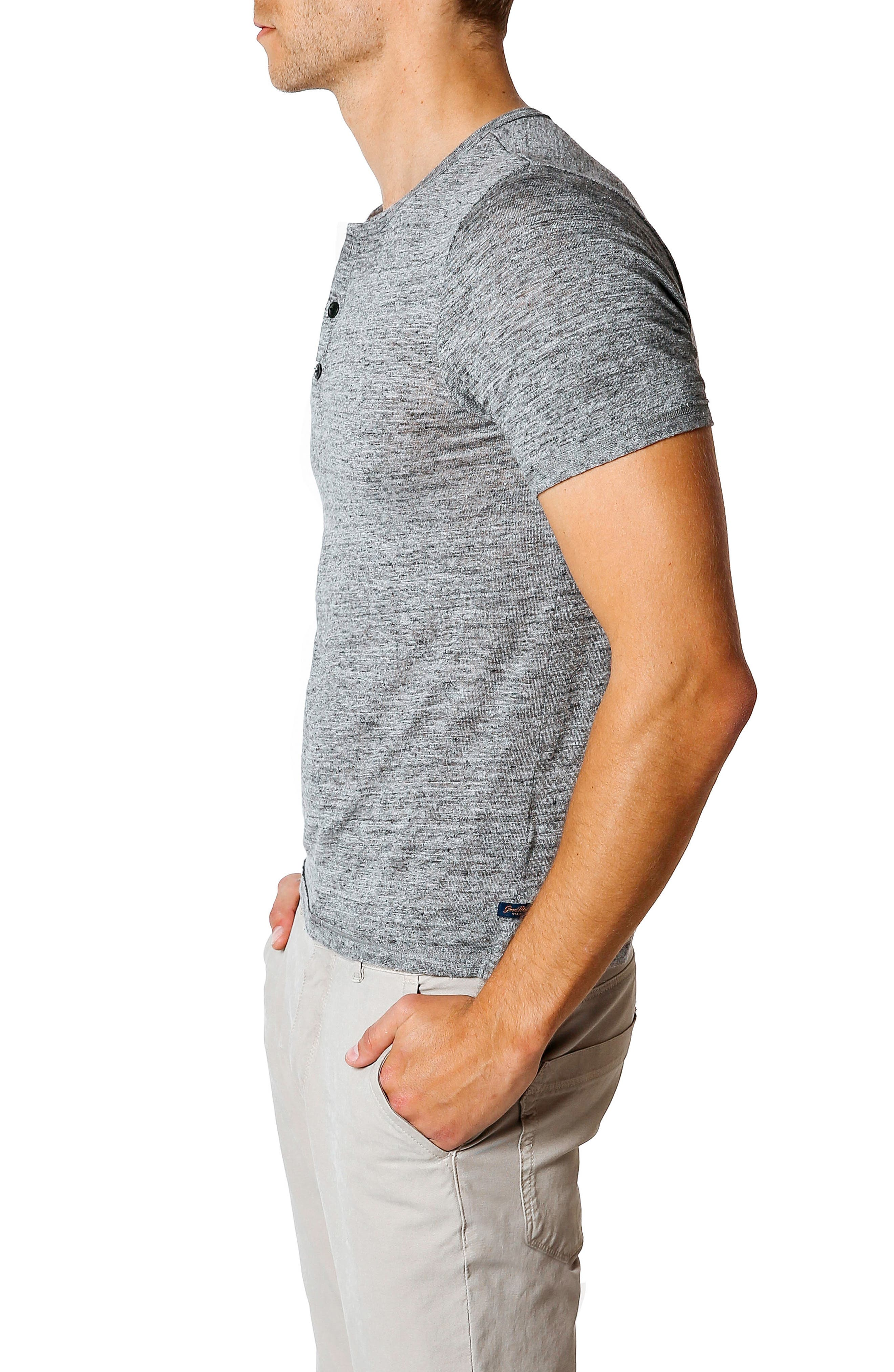 Trim Fit Heathered Jersey Henley,                             Alternate thumbnail 3, color,                             GREY HEATHER