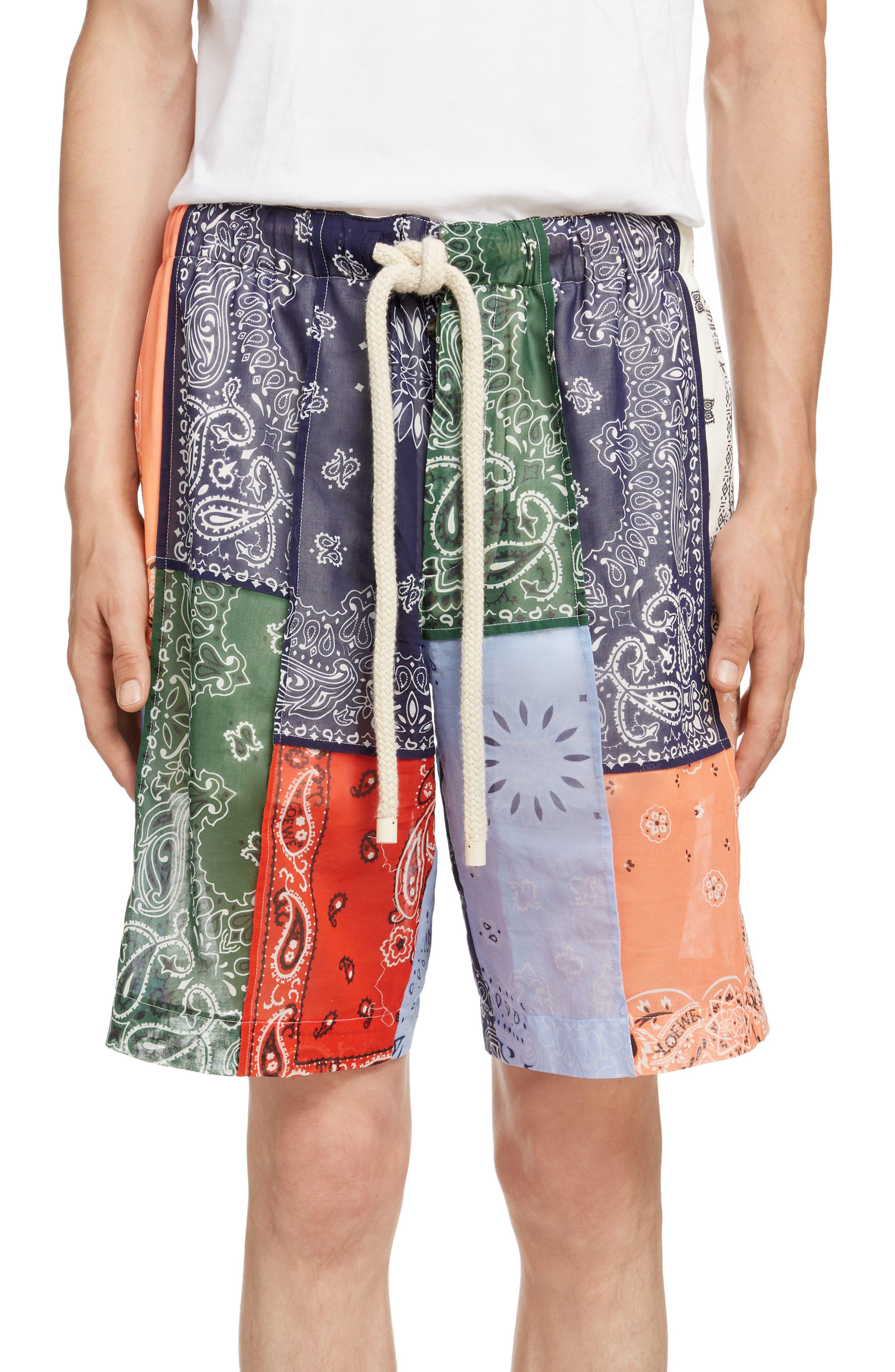 LOEWE,                             Bandana Patchwork Shorts,                             Main thumbnail 1, color,                             9990-MULTICOLOR