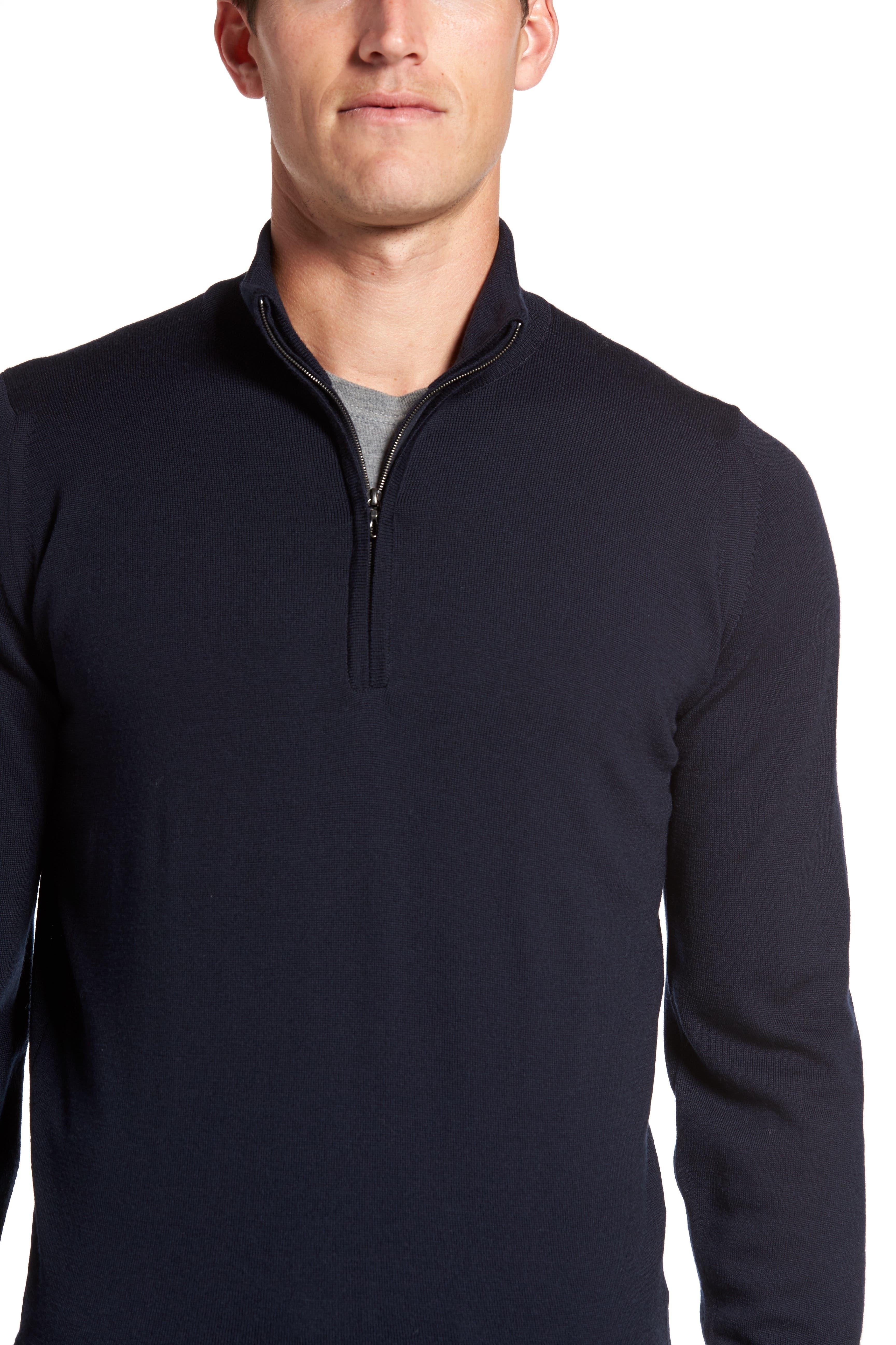 'Tapton' Quarter Zip Merino Wool Sweater,                             Alternate thumbnail 3, color,                             412