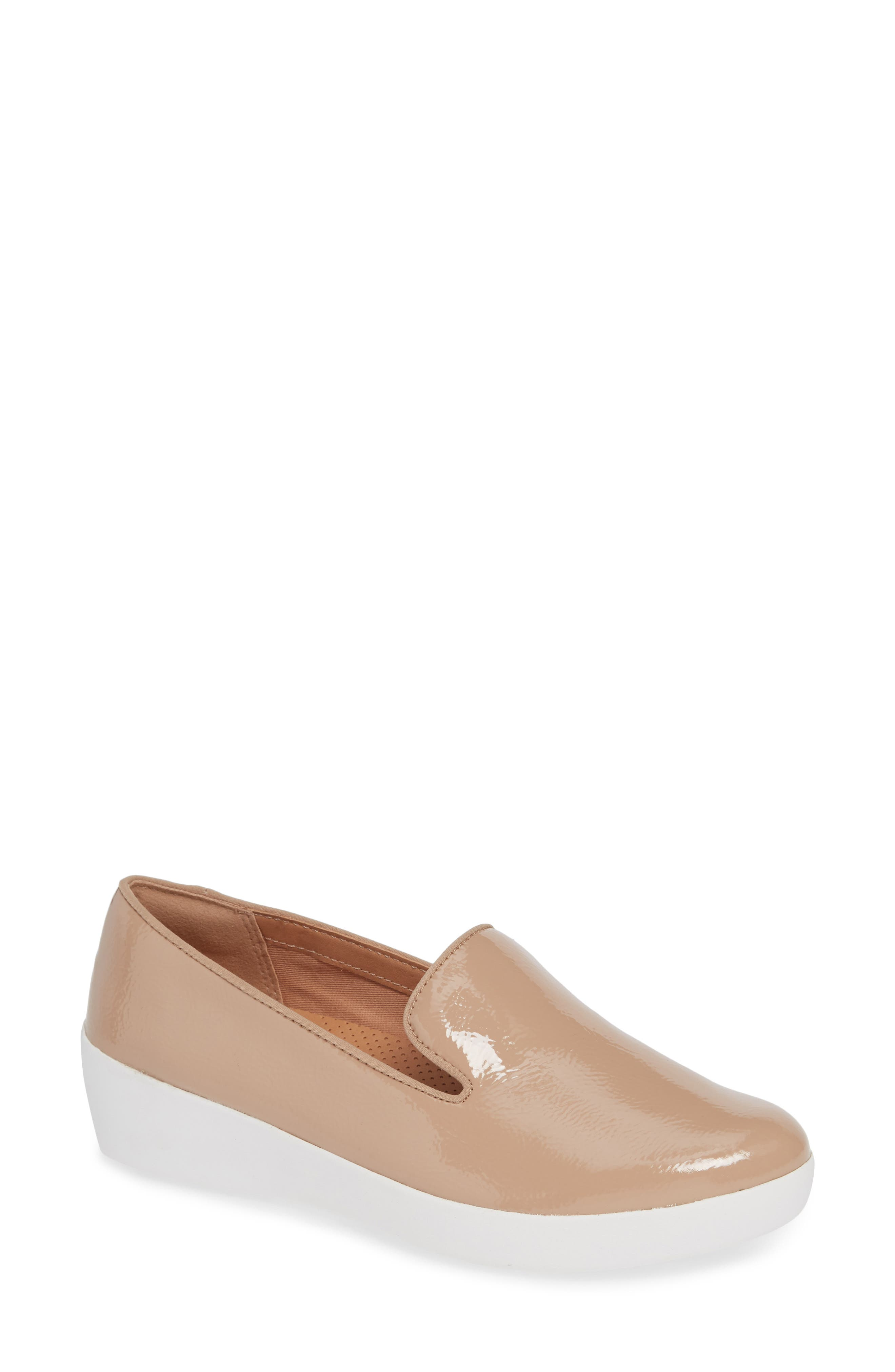 Audrey Smoking Slipper,                         Main,                         color, TAUPE PATENT LEATHER