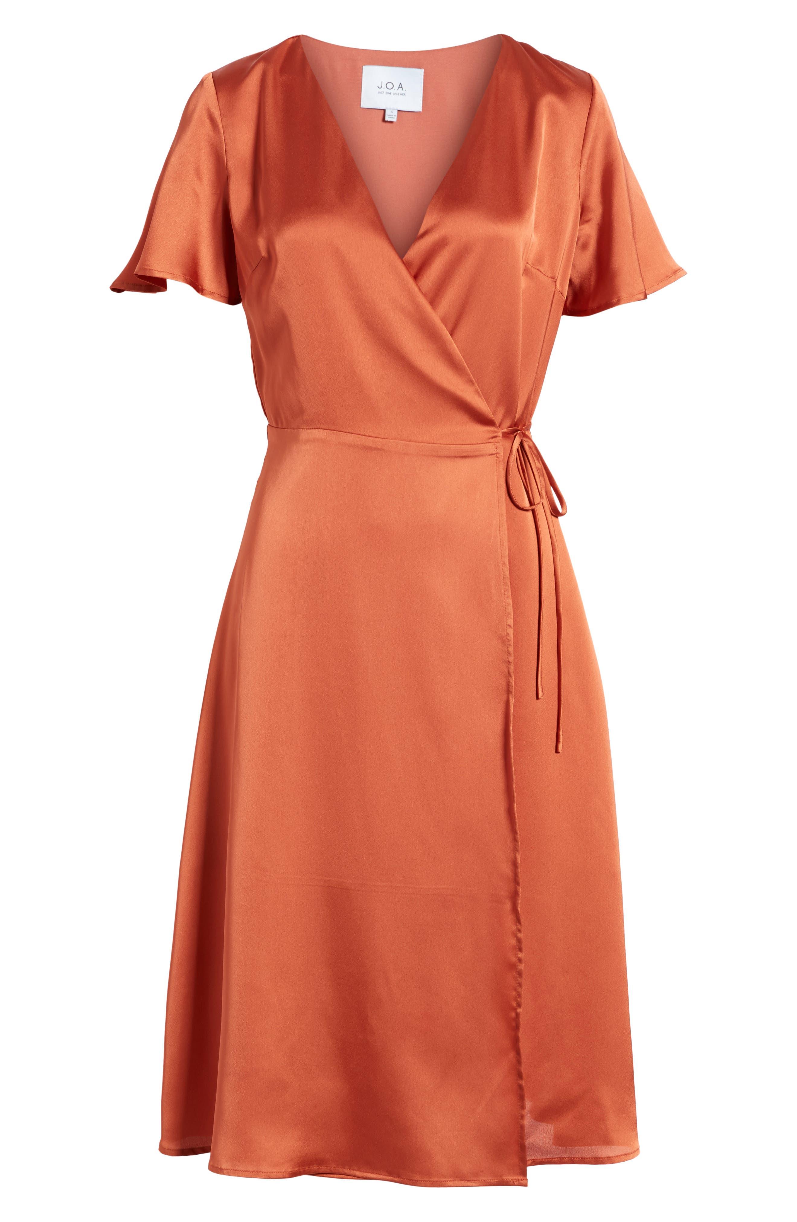 Satin Wrap Dress,                             Alternate thumbnail 6, color,                             201