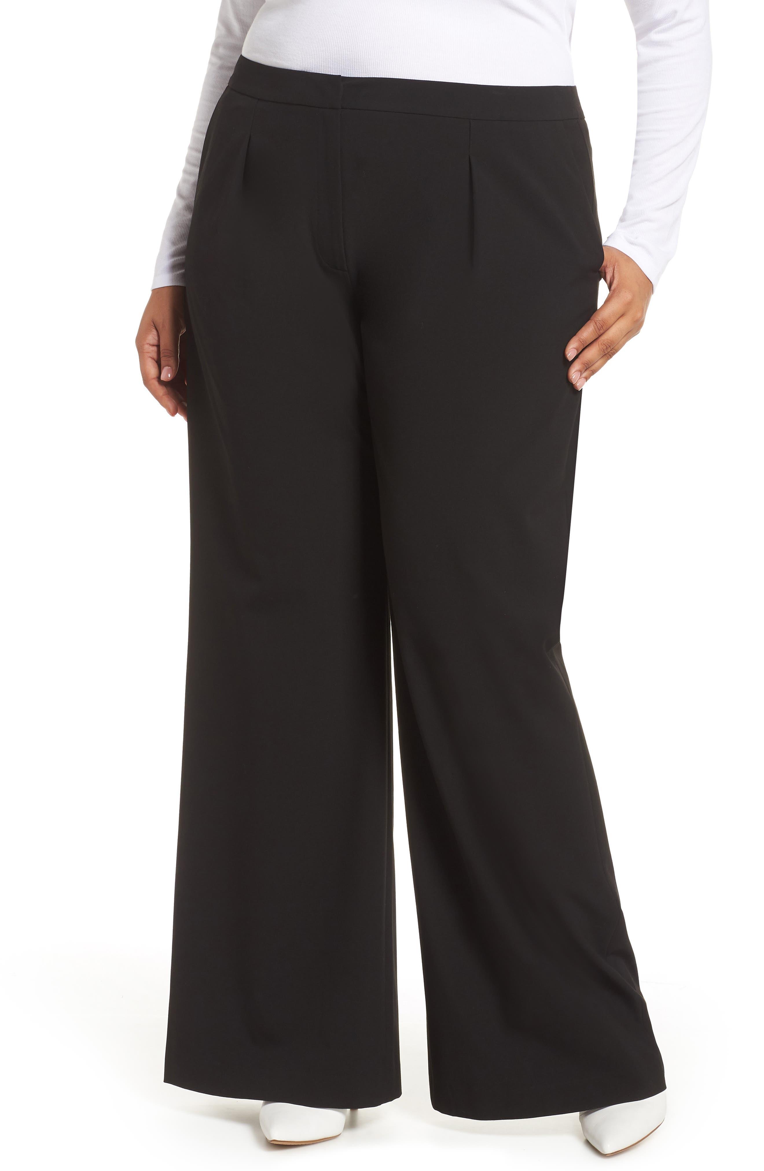High Waist Wide Leg Pants,                             Main thumbnail 1, color,                             BLACK