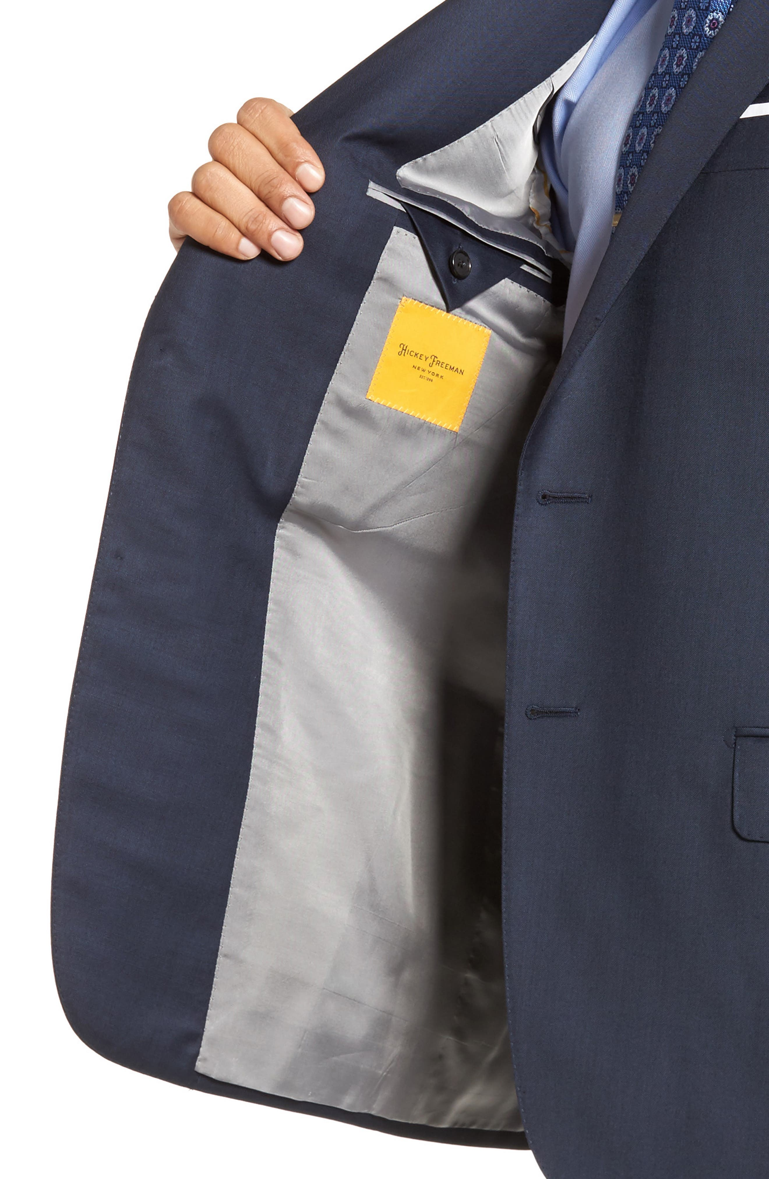 Classic B Fit Solid Loro Piana Wool Suit,                             Alternate thumbnail 4, color,                             NAVY SHARKSKIN
