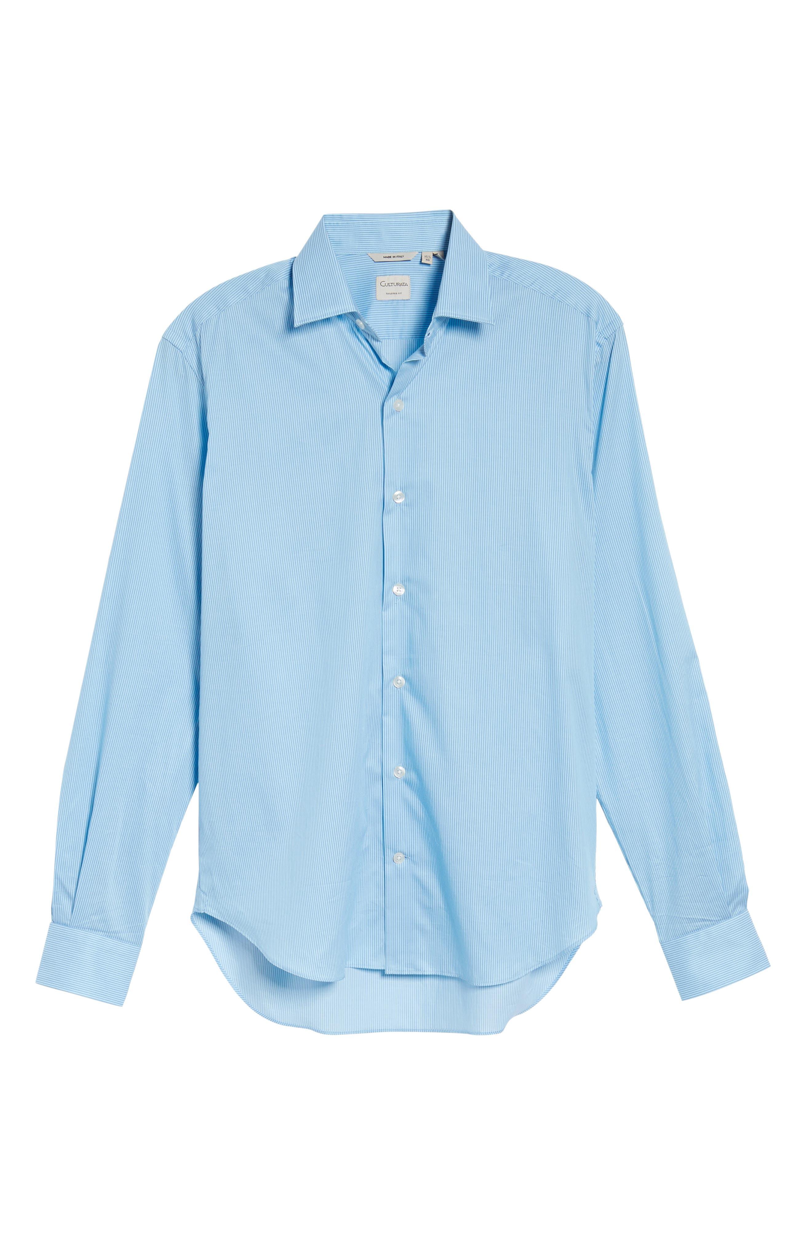 Slim Fit Stripe Twill Sport Shirt,                             Alternate thumbnail 6, color,