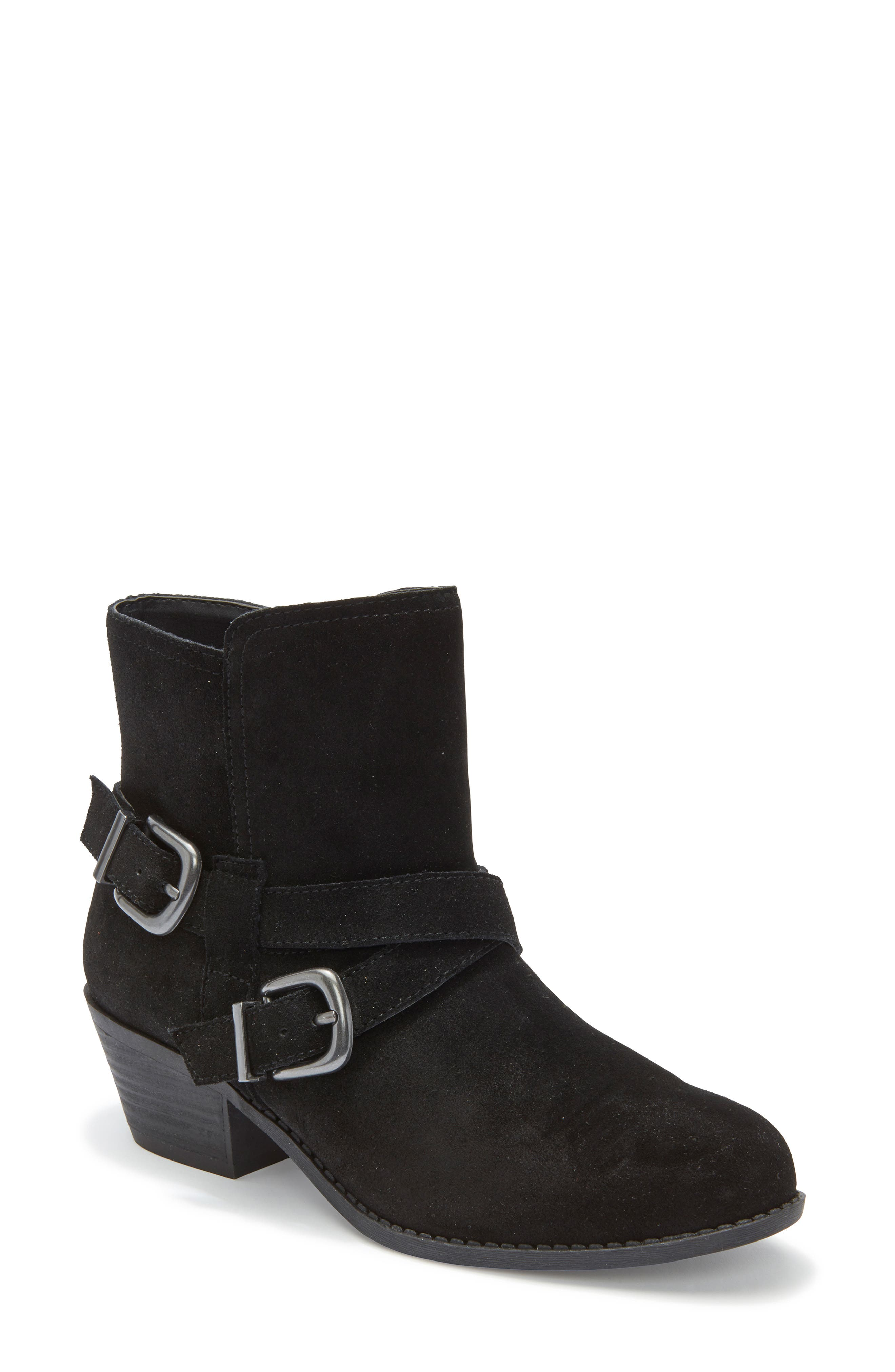 Zuri Buckle Boot,                         Main,                         color, BLACK SUEDE
