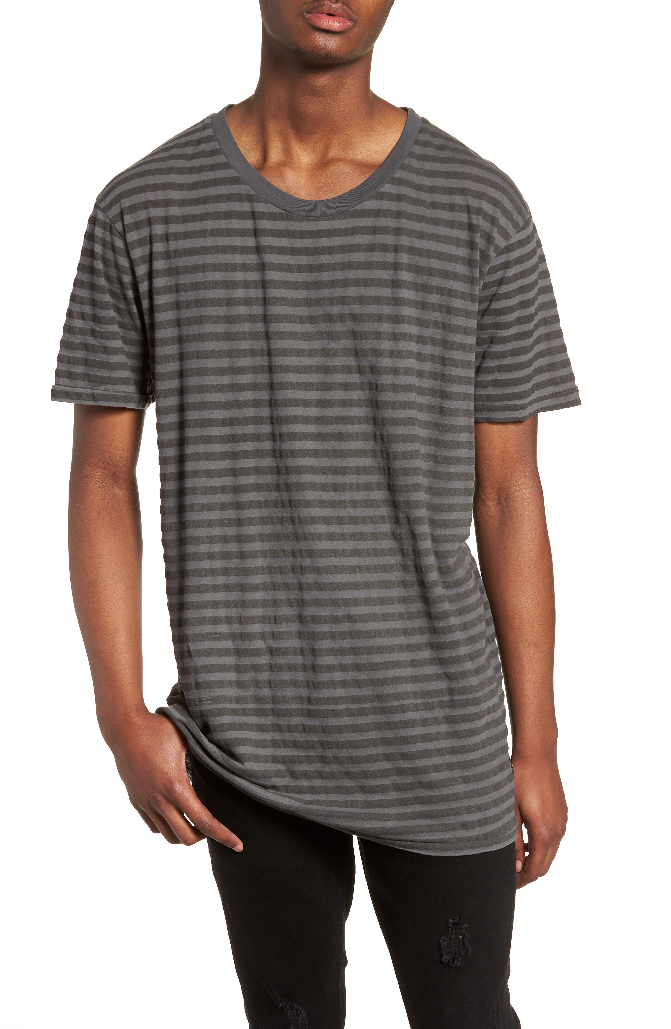 1CM Stripe T-Shirt,                         Main,                         color, KHAKI/ BLACK STRIPE