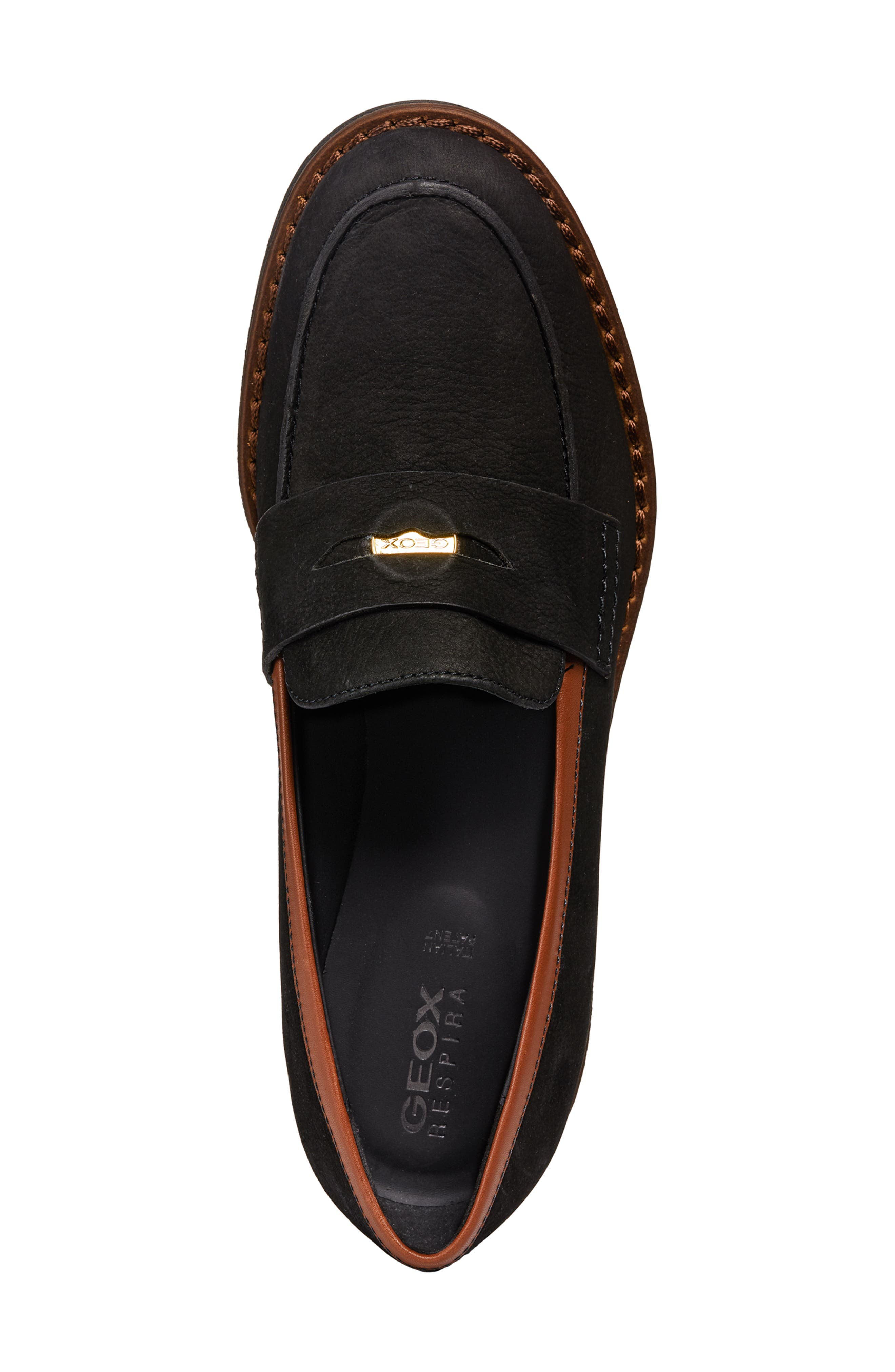 Adrya Loafer,                             Alternate thumbnail 4, color,                             BLACK/ BROWN NUBUCK LEATHER