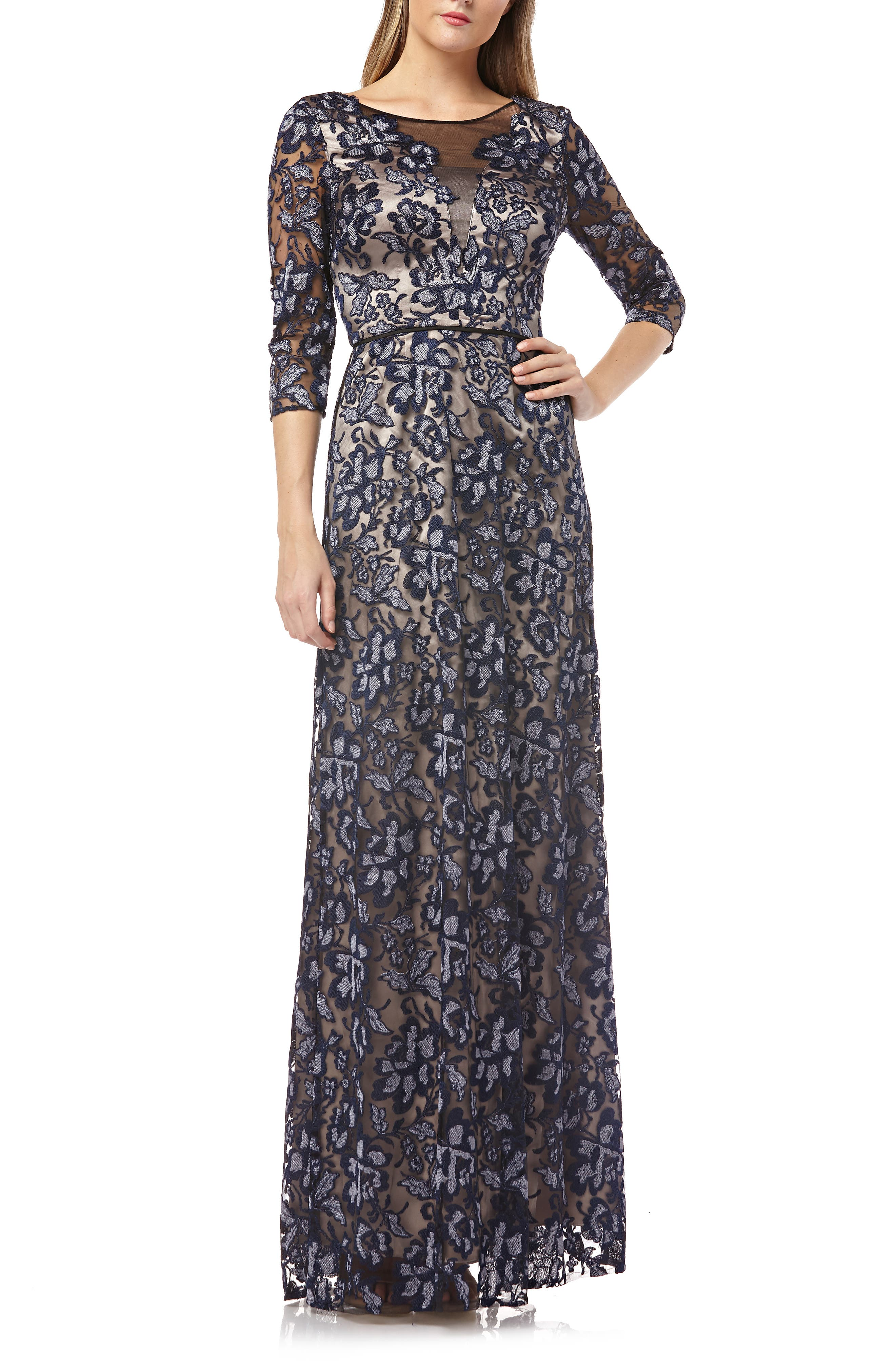 Js Collections Floral Embroidered Mesh Gown, Blue