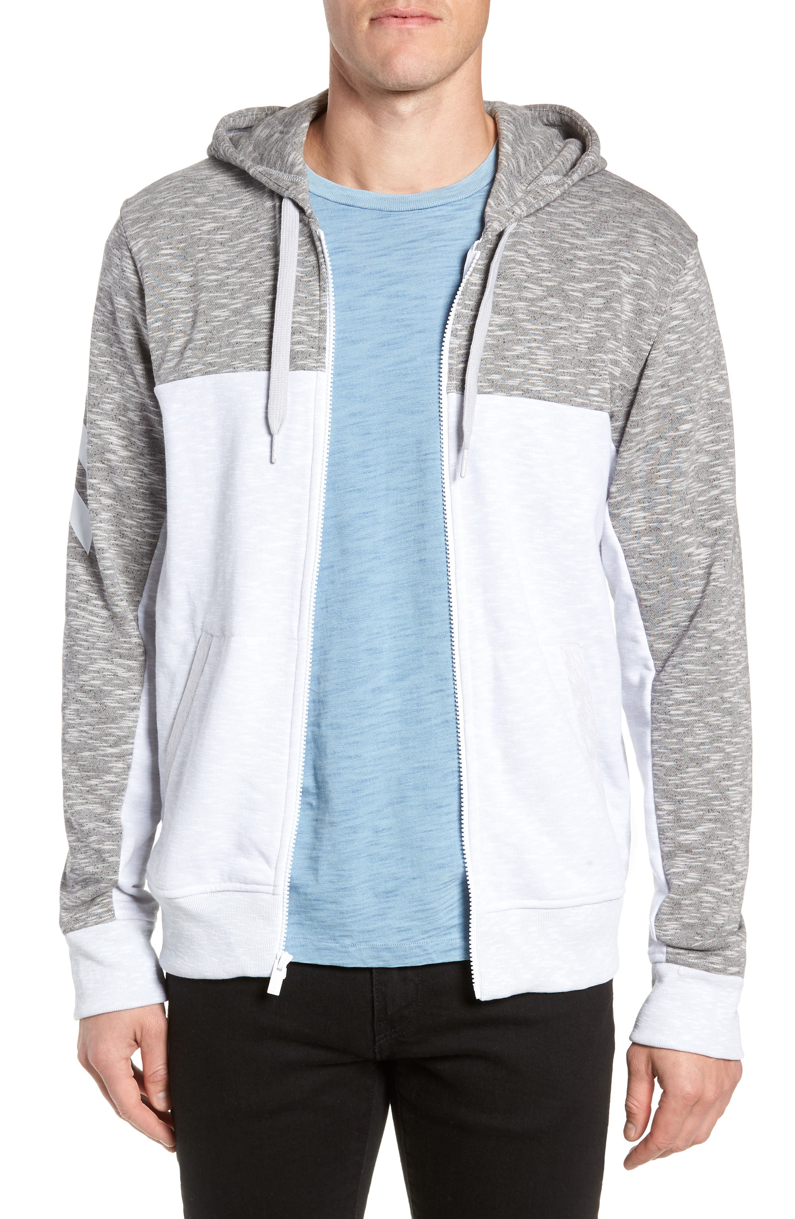 Pick Up Colorblock Zip Hoodie,                         Main,                         color, LGH SOLID GREY/ WHITE
