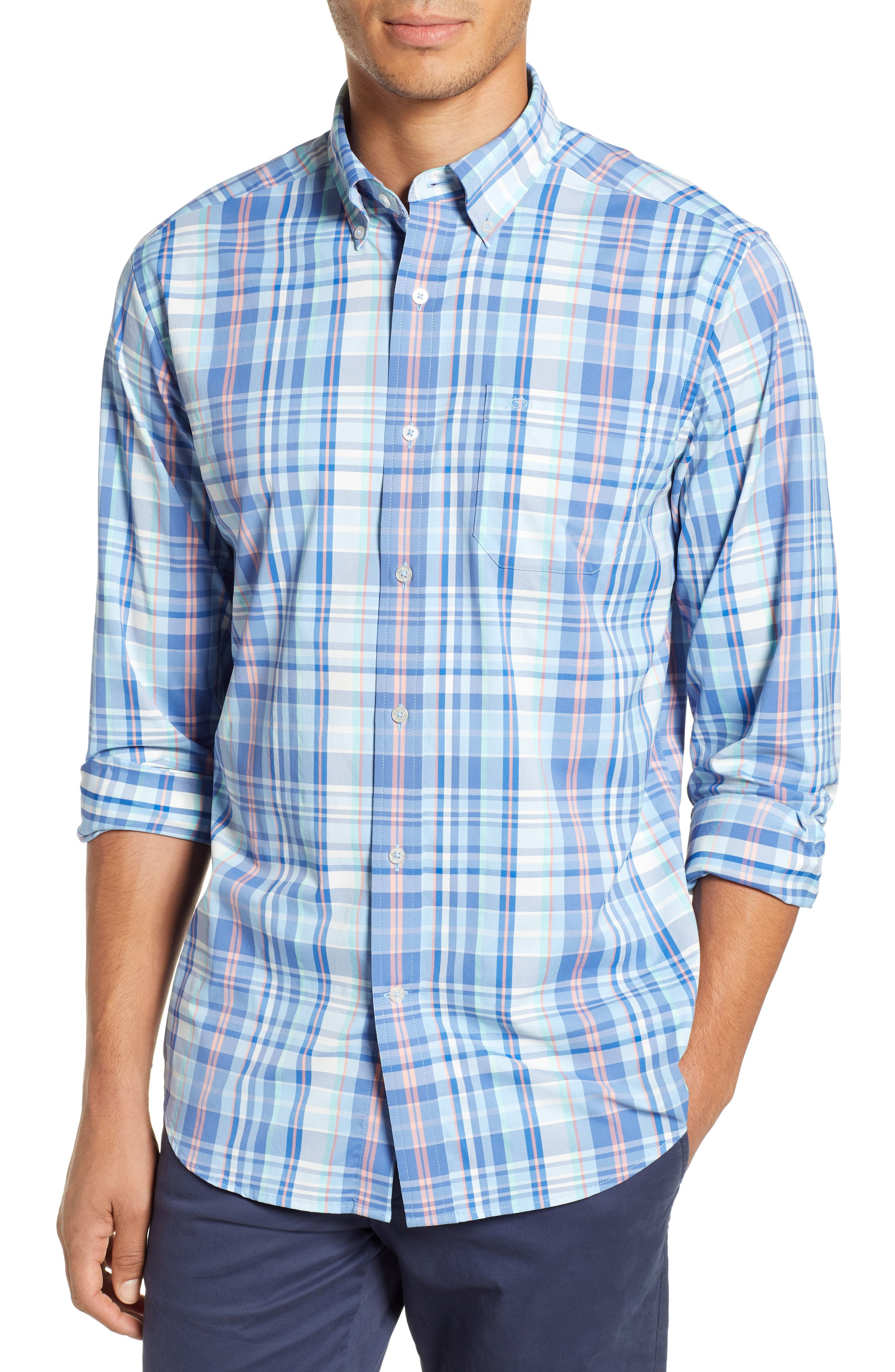 SOUTHERN TIDE Siesta Intercoastal Regular Fit Plaid Performance Sport Shirt in Sky Blue