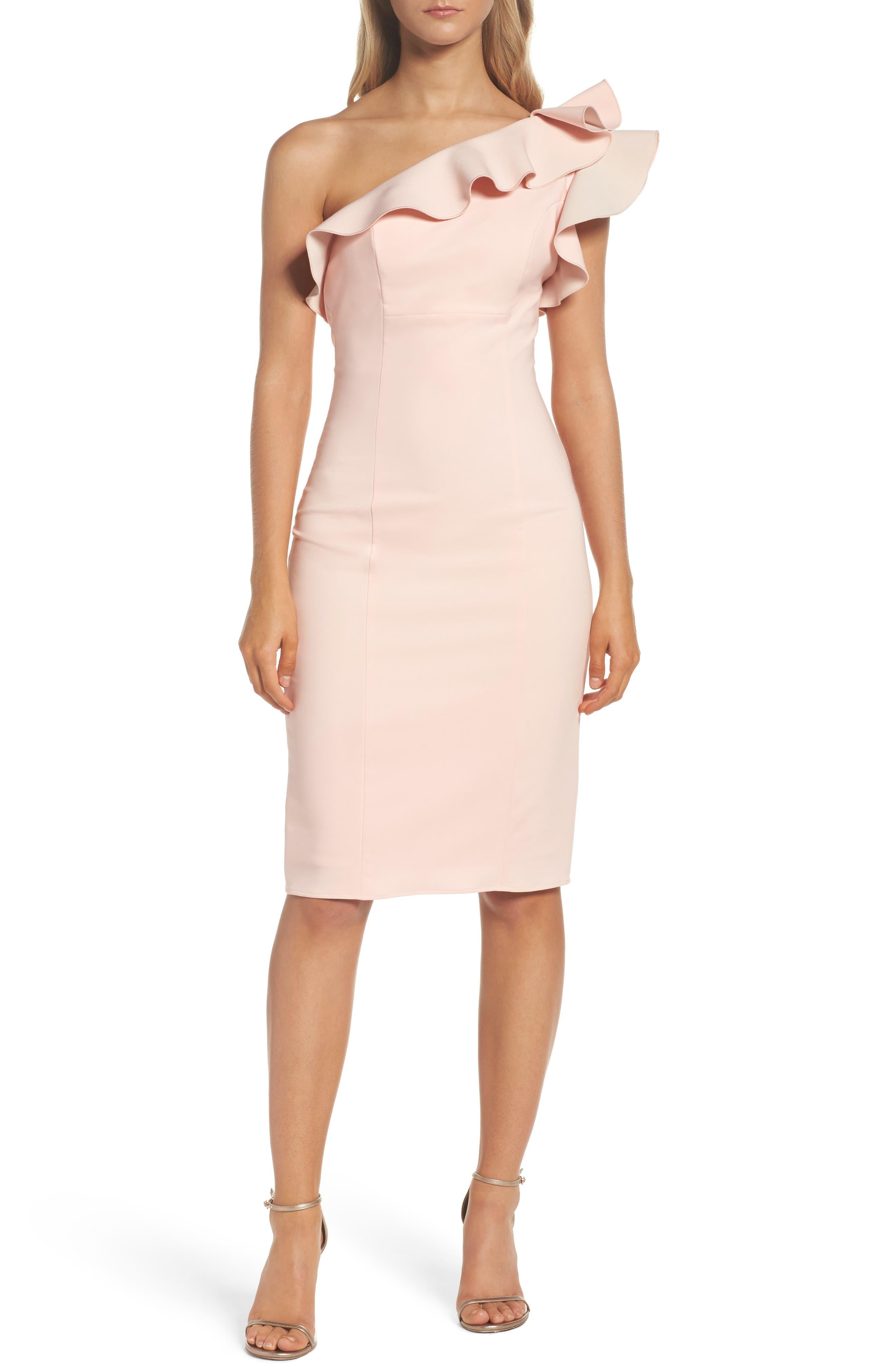 Ruffle One-Shoulder Dress,                         Main,                         color, 695