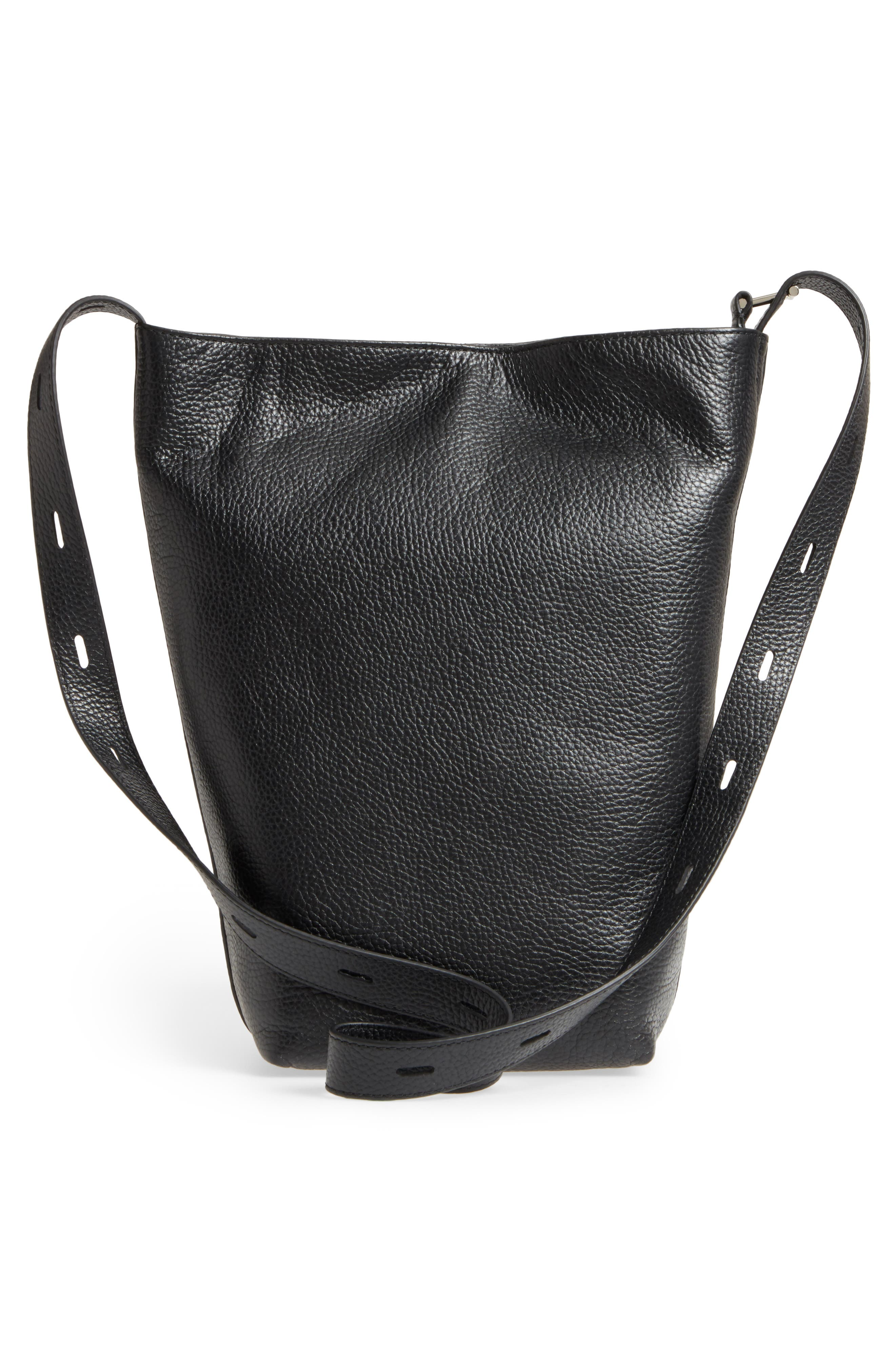 Pebbled Leather Panel Pail Convertible Leather Bucket Bag,                             Alternate thumbnail 3, color,                             001