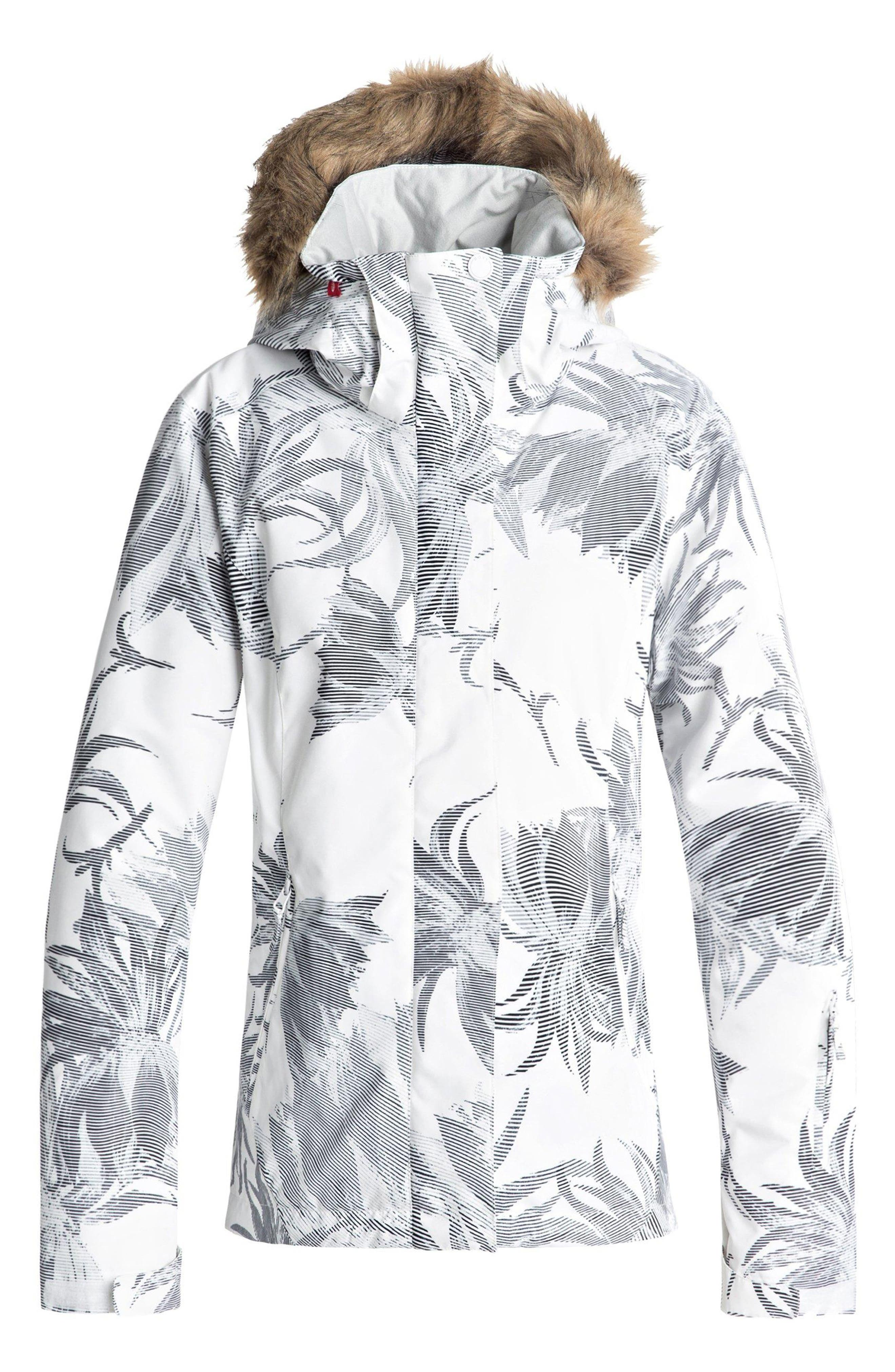 Jet Ski Slim Fit Waterproof WarmFlight<sup>®</sup> Insulated Snow Jacket with Faux Fur Trim,                         Main,                         color, BRIGHT WHITE/ SWELL FLOWERS