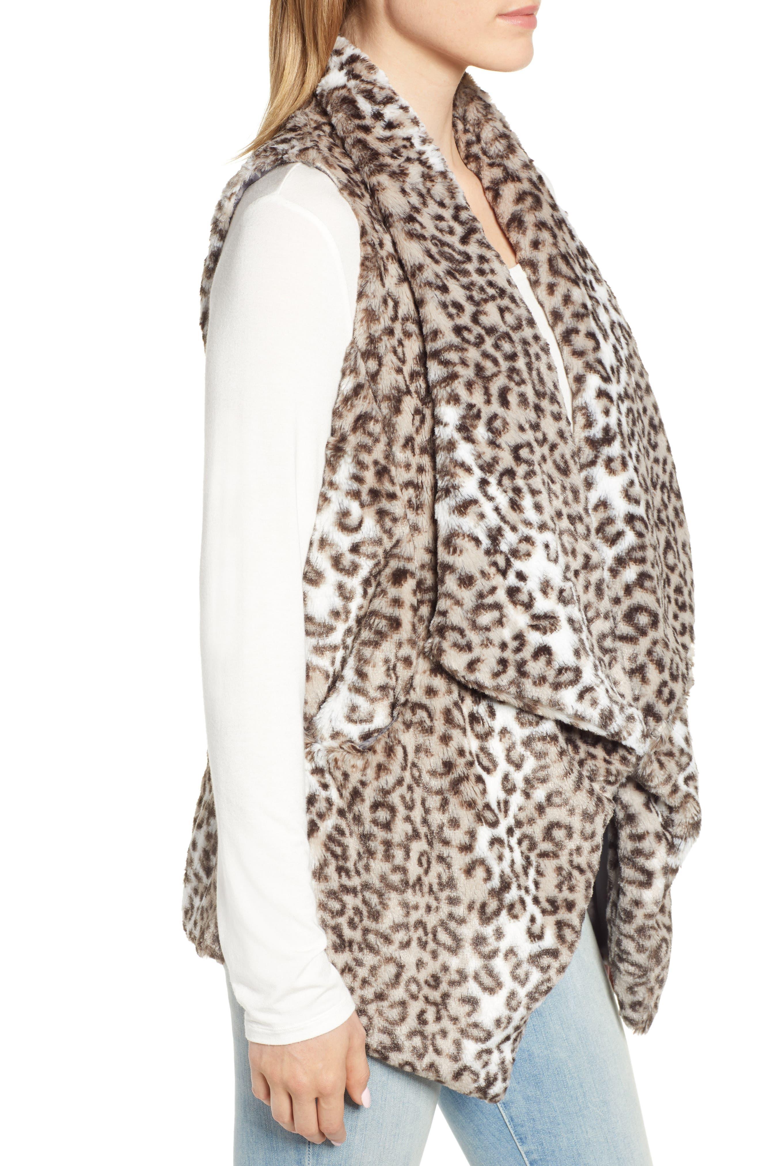 Draped Faux Leopard Fur Vest,                             Alternate thumbnail 3, color,                             LIGHT CASHMERE