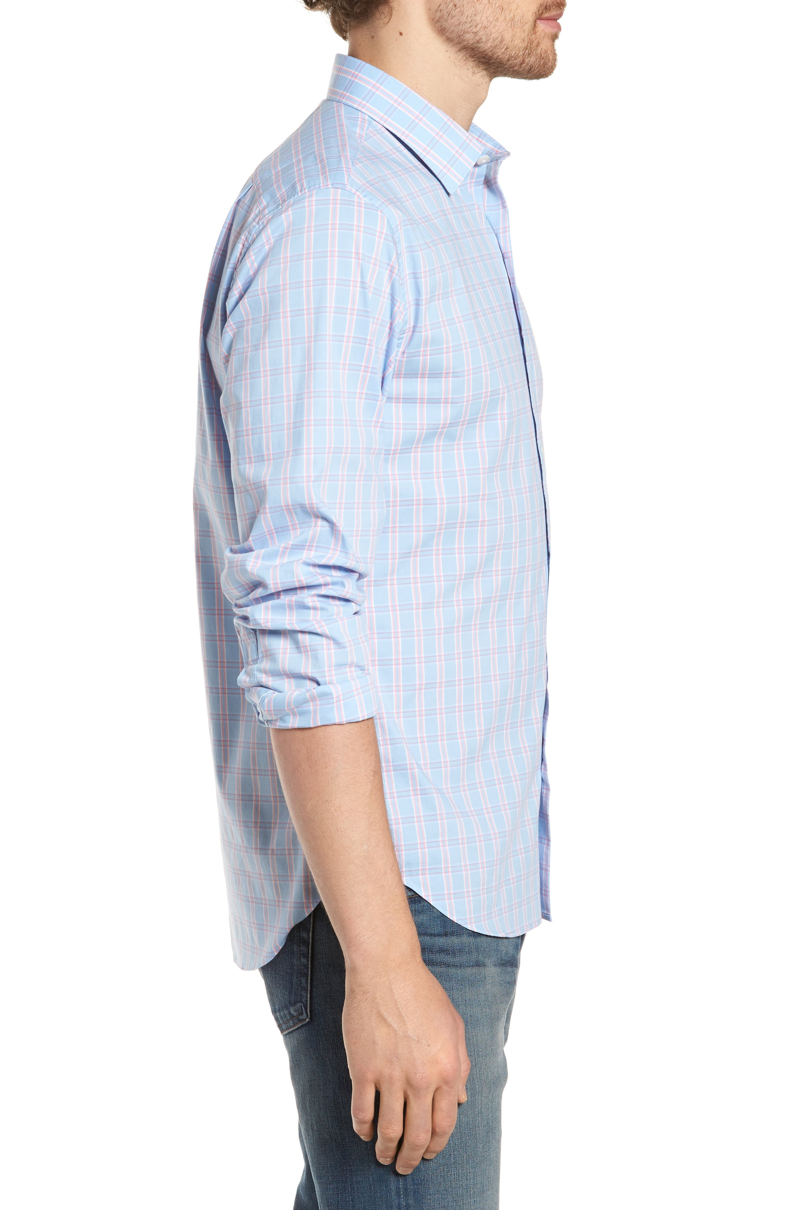 Unbutton Down 2.0 Slim Fit Check Sport Shirt,                             Alternate thumbnail 3, color,