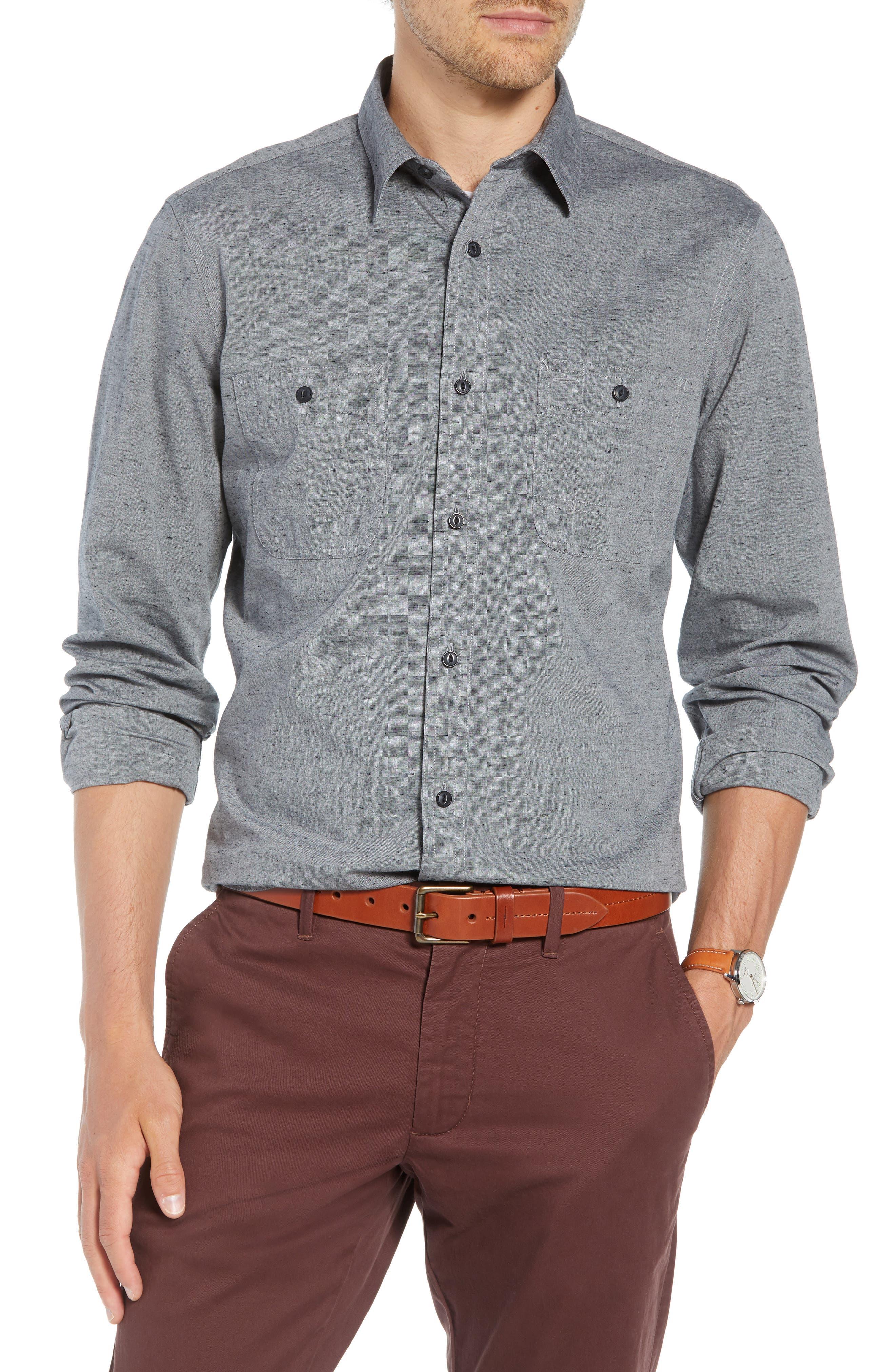 Workwear Chambray Sport Shirt,                         Main,                         color, GREY ONYX NEP CHAMBRAY