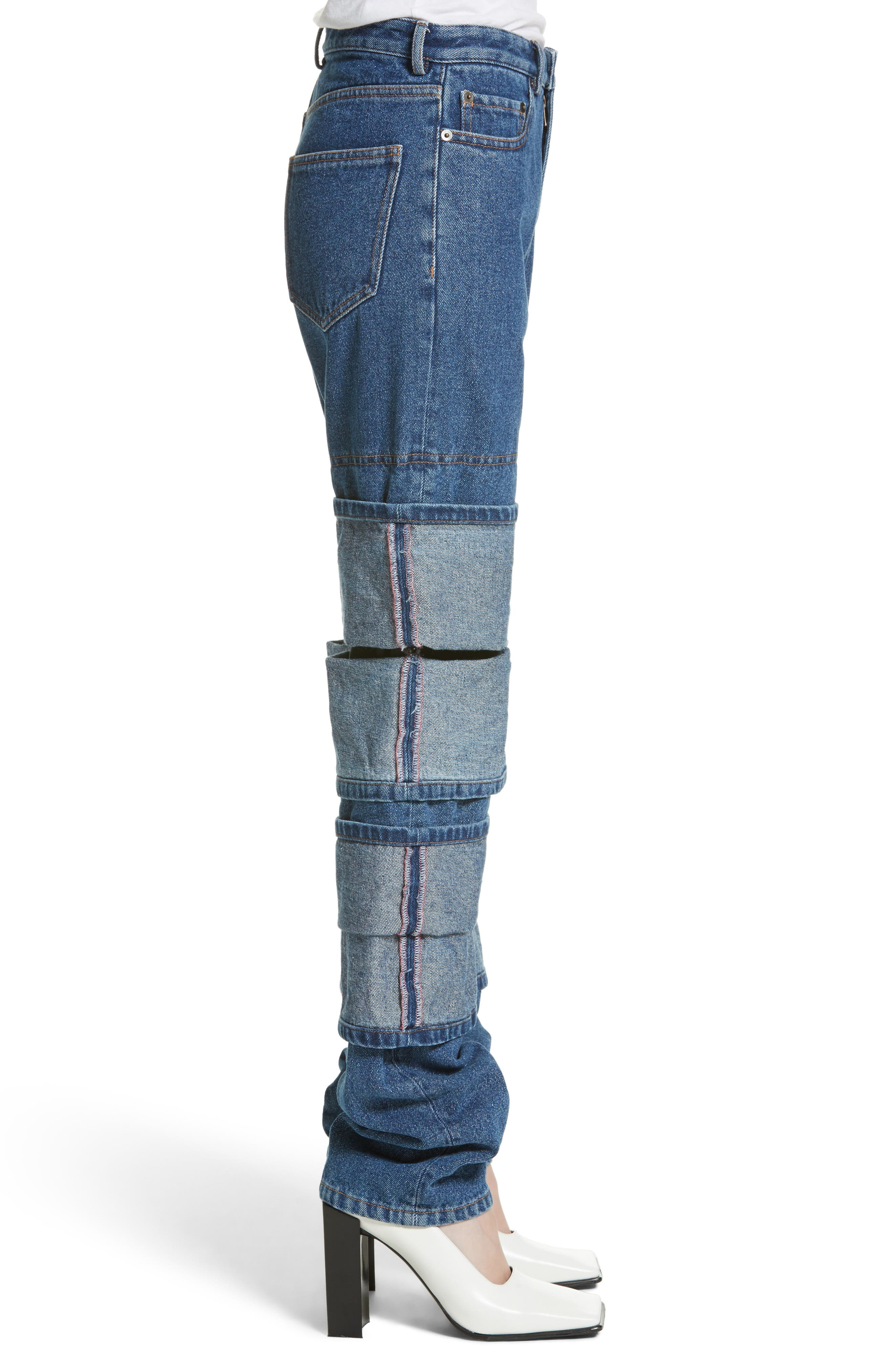 Layered Cuff Jeans,                             Alternate thumbnail 3, color,                             410