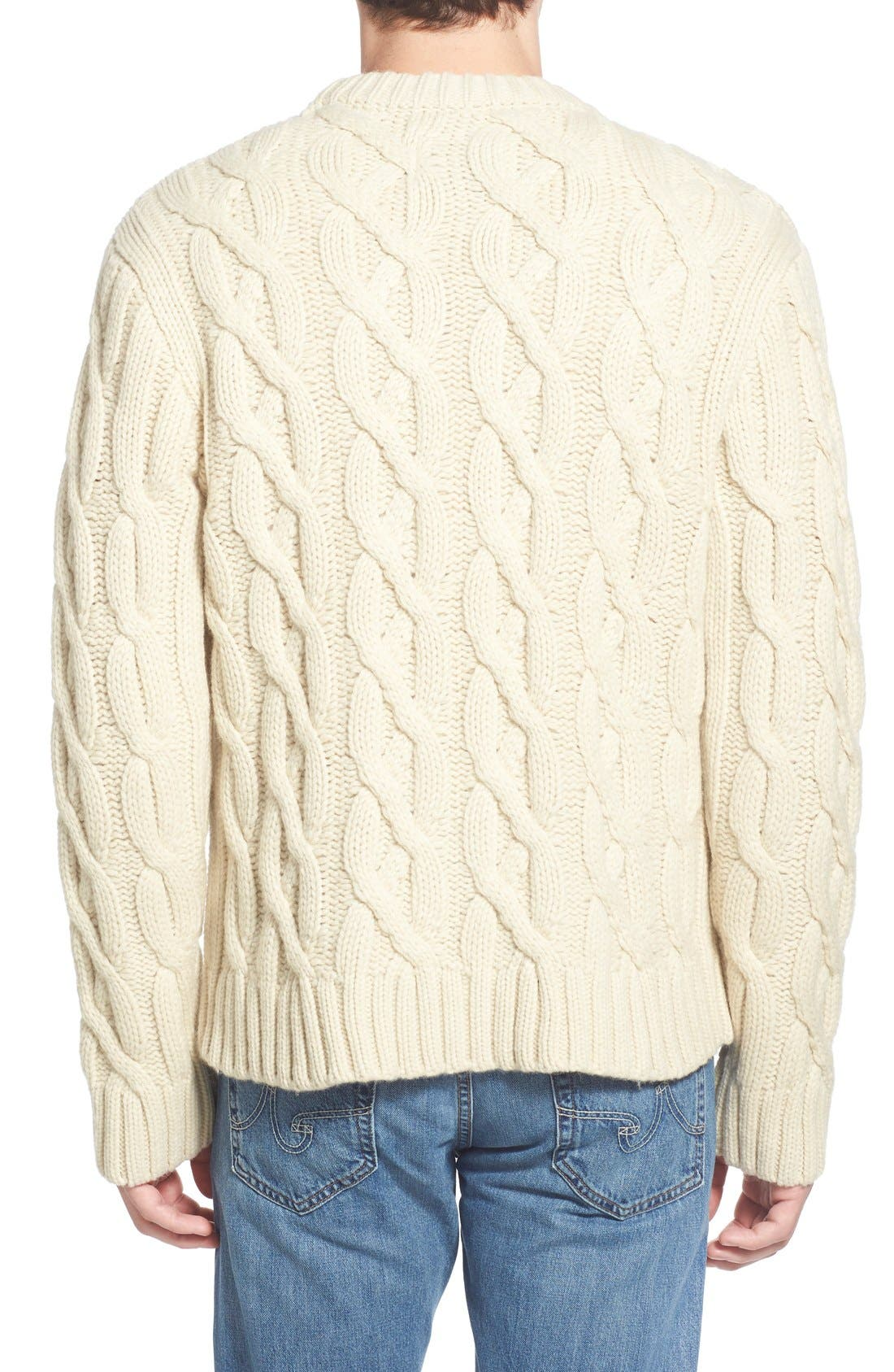 Regular Fit Cable Knit Crewneck Wool Blend Sweater,                             Alternate thumbnail 4, color,