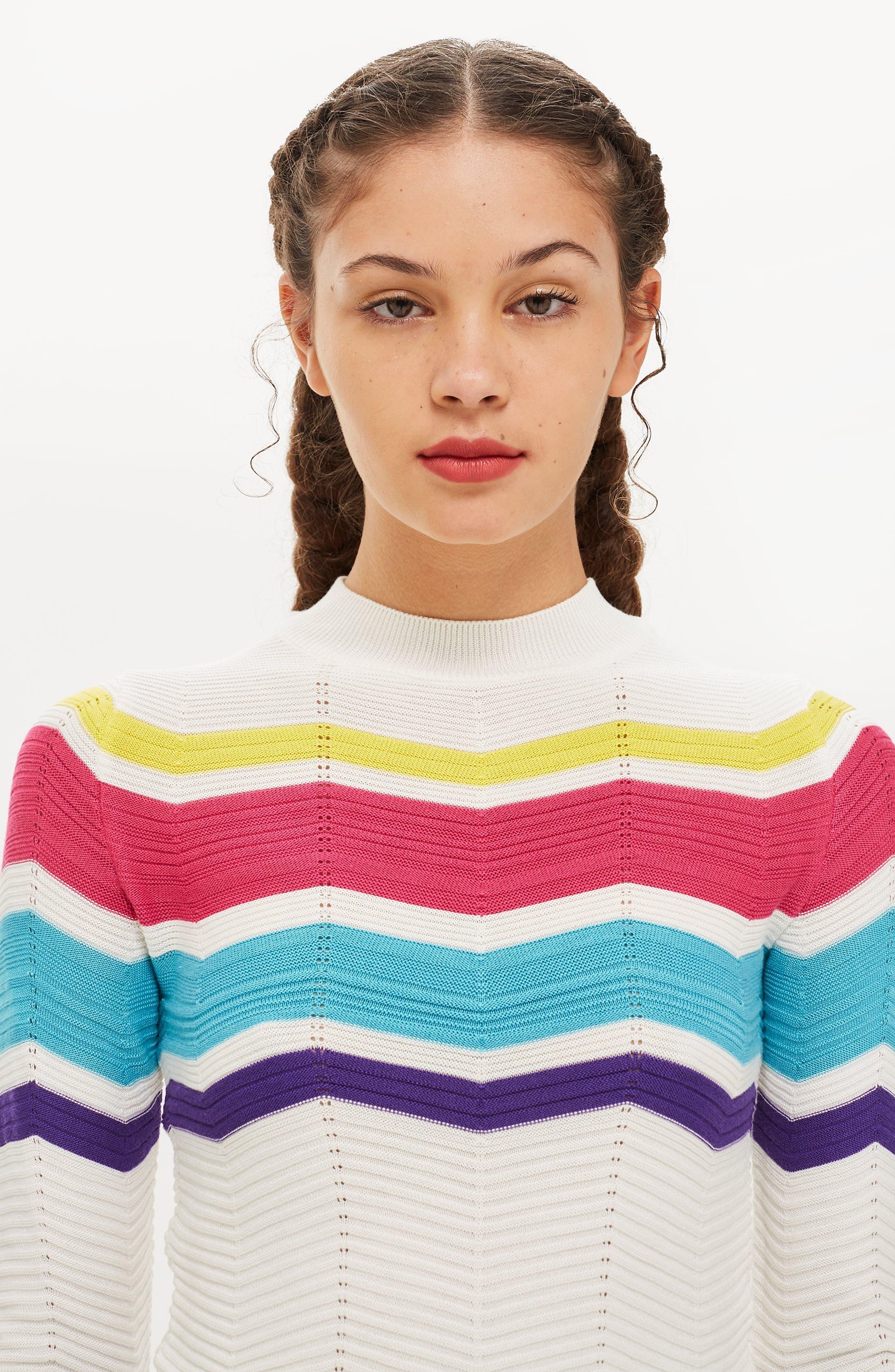 Chevron Stripe Crop Sweater,                             Alternate thumbnail 6, color,                             900