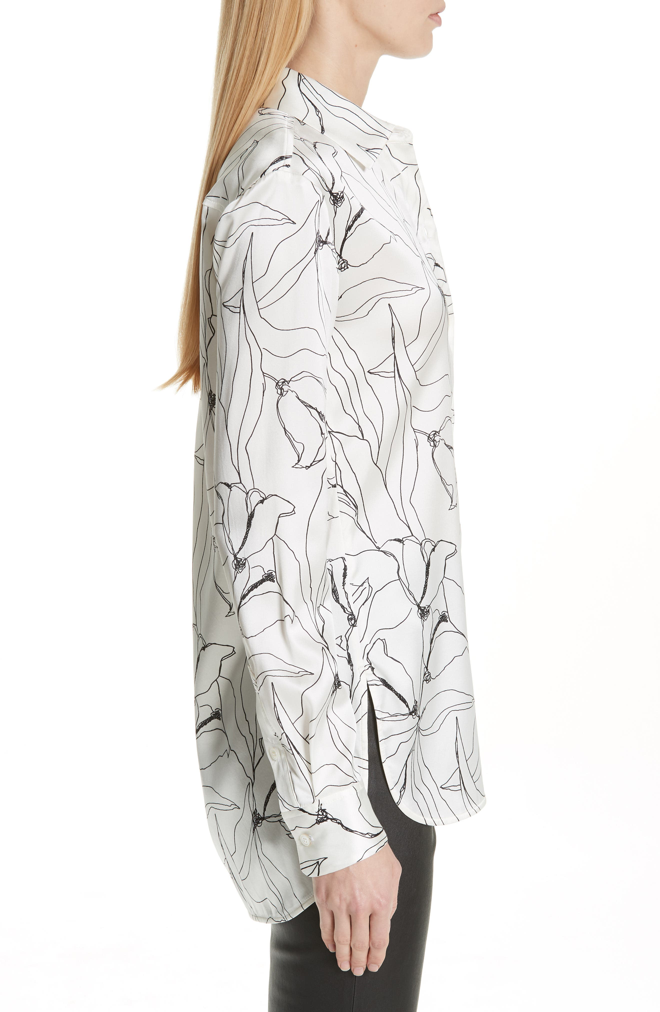 ST. JOHN COLLECTION,                             Artisanal Floral Stretch Silk Blouse,                             Alternate thumbnail 3, color,                             CREAM/ CAVIAR