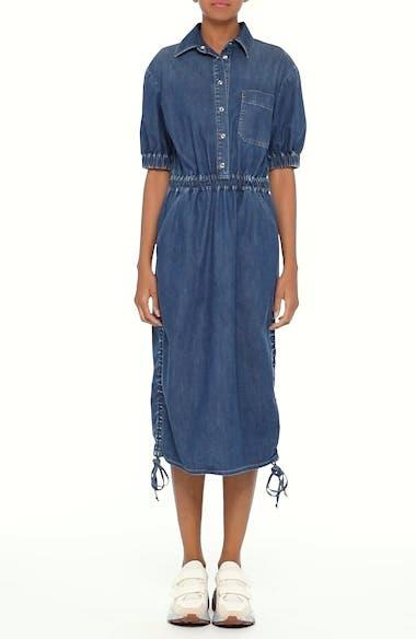 Ruched Denim Midi Dress, video thumbnail