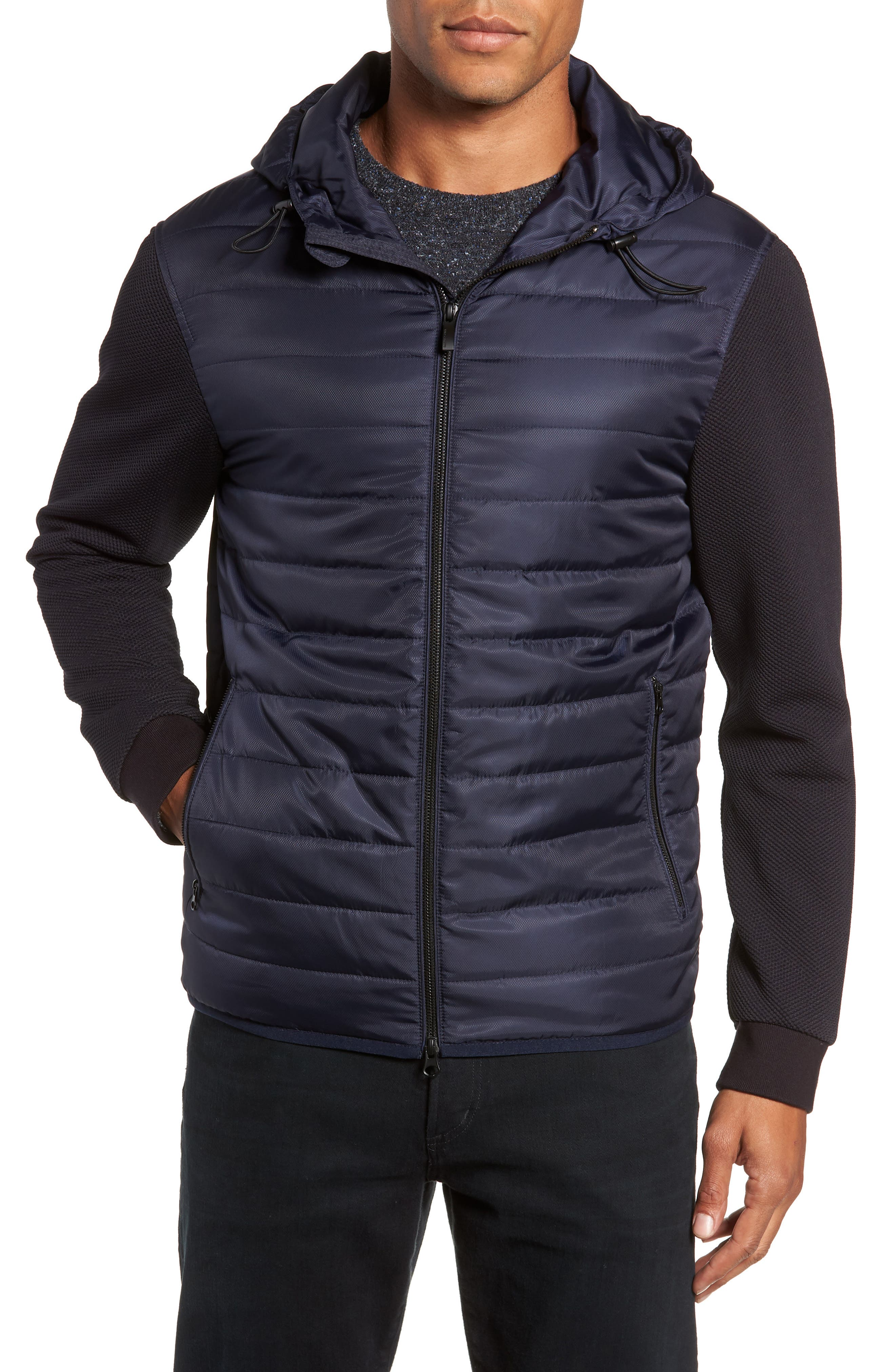 Slim Fit Quilted Performance Jacket,                             Alternate thumbnail 4, color,                             NAVY