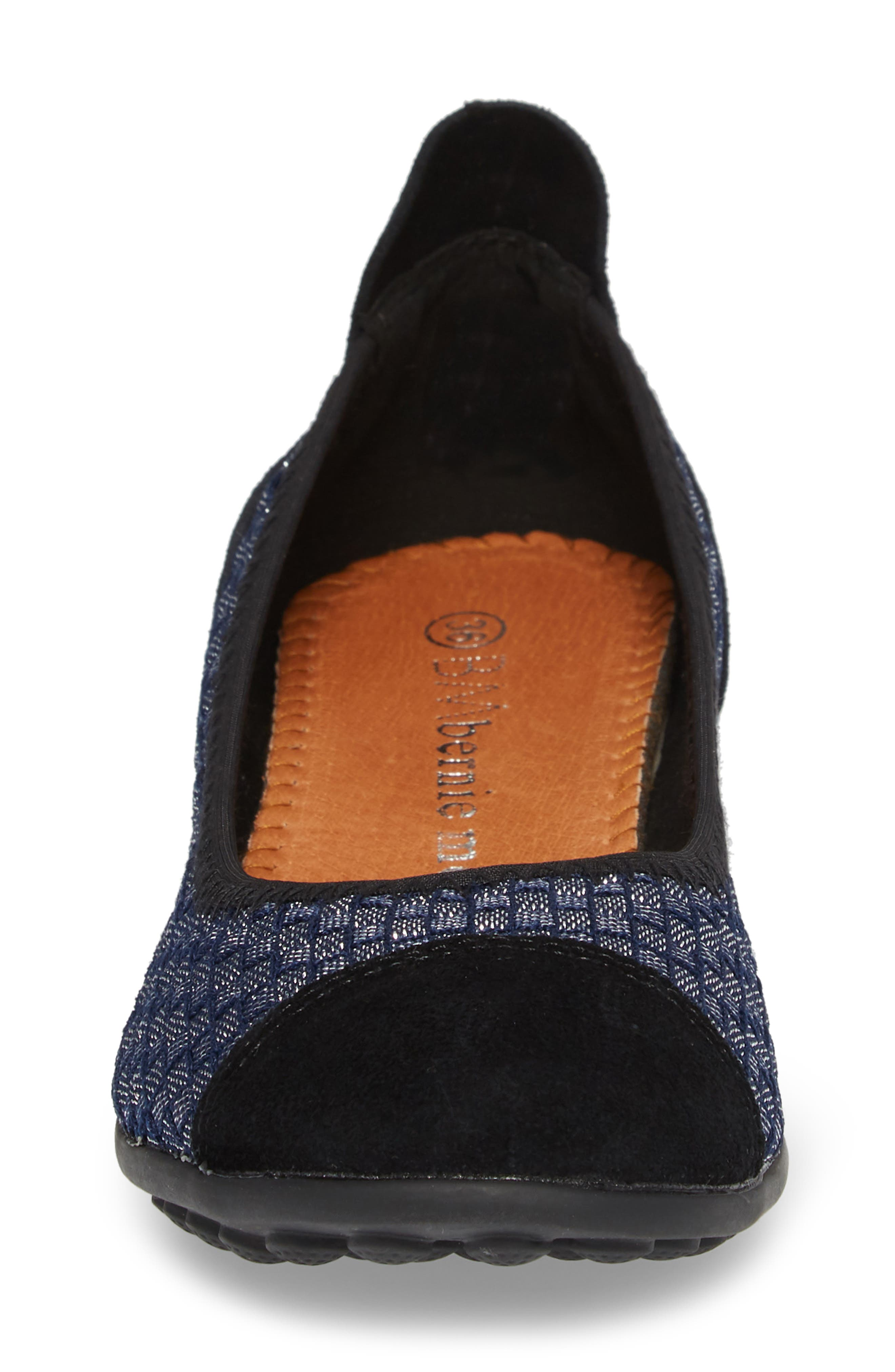 'Bella Me' Woven Flat,                             Alternate thumbnail 4, color,                             NAVY SHIMMER FABRIC