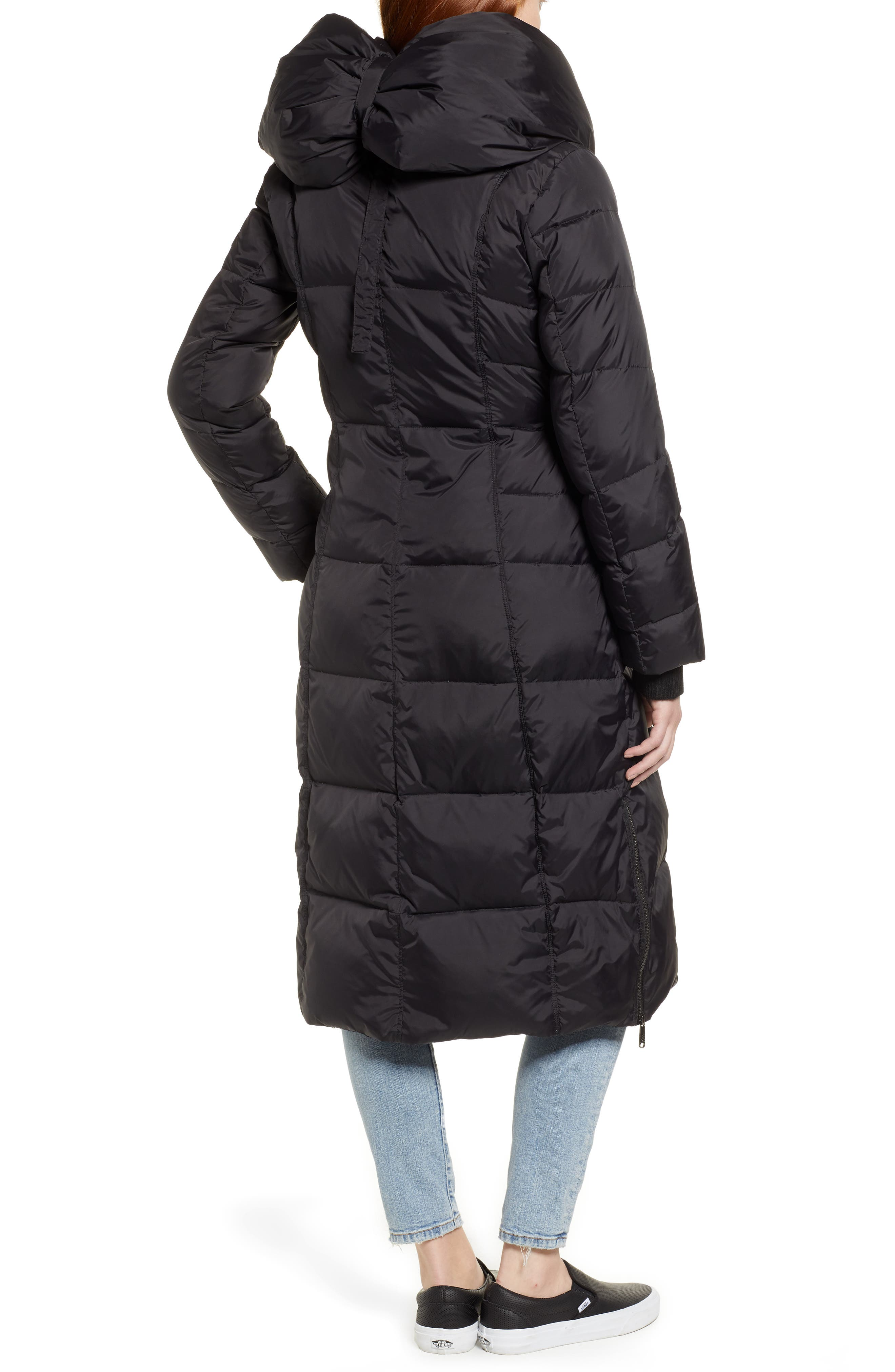 Pillow Collar Quilted Down Long Coat,                             Alternate thumbnail 2, color,                             BLACK