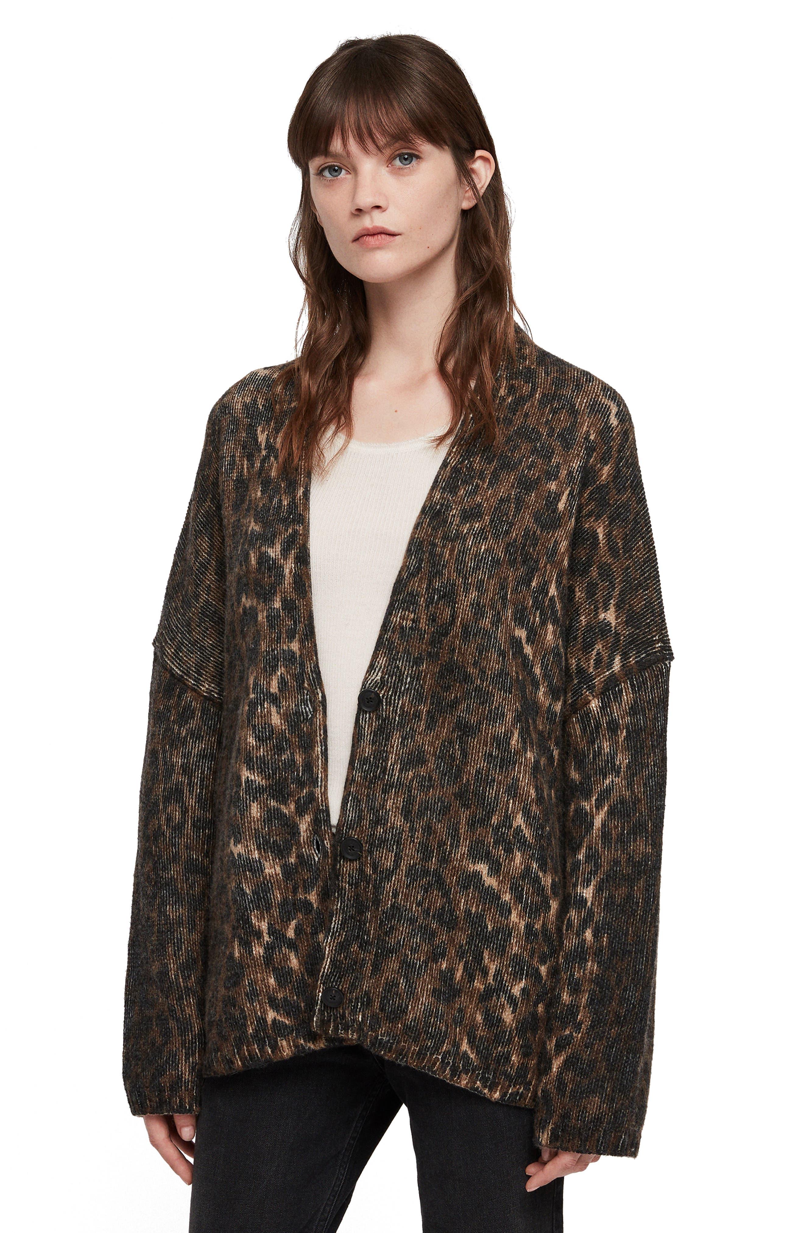Ph Leopard Wool Blend Cardigan,                             Alternate thumbnail 4, color,                             LEOPARD BROWN