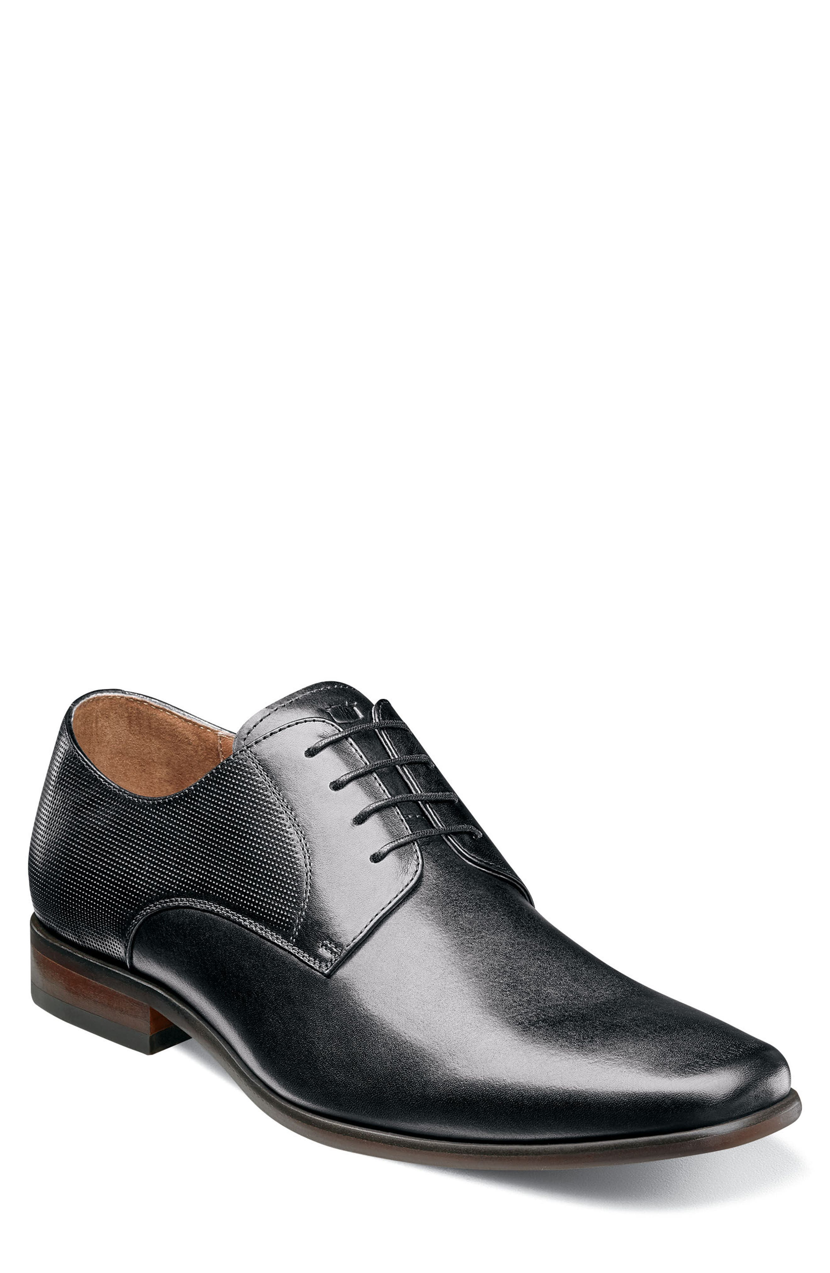 Postino Textured Plain Toe Derby,                             Main thumbnail 1, color,                             BLACK LEATHER