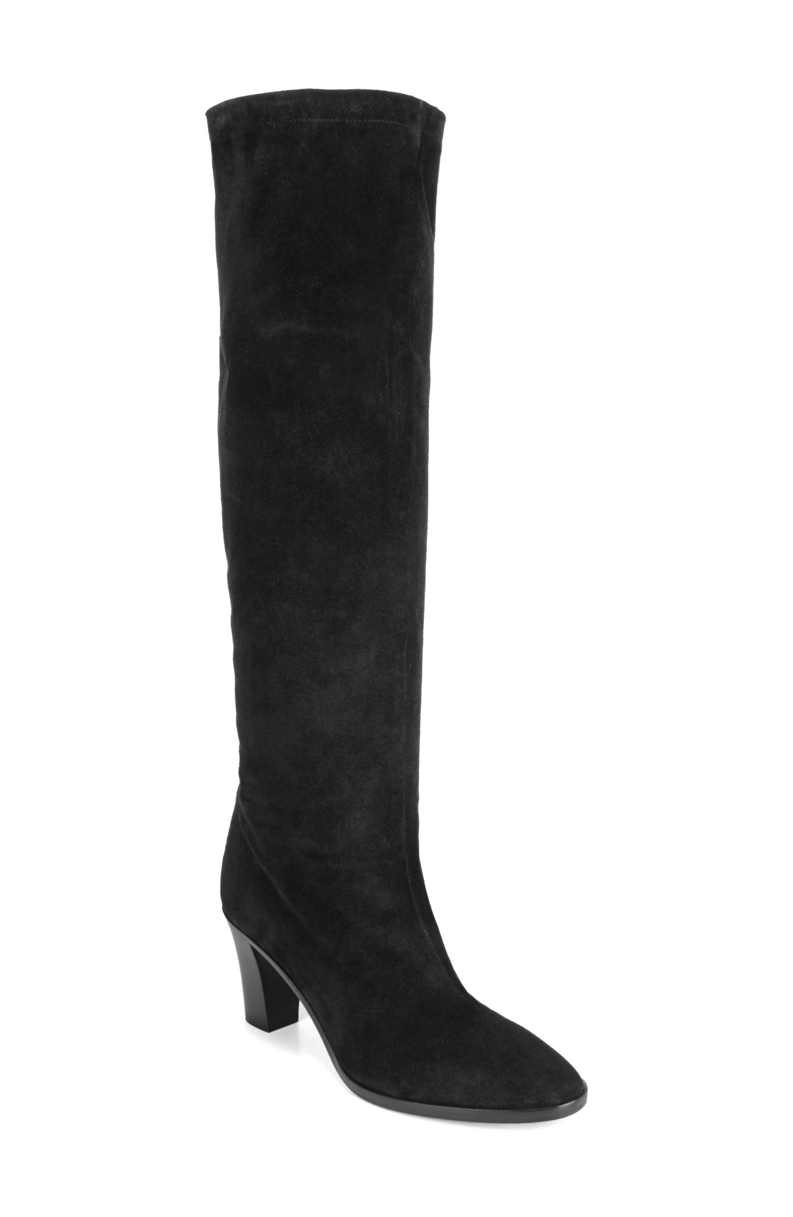 Casper Knee High Pull-On Boot,                             Main thumbnail 1, color,                             BLACK